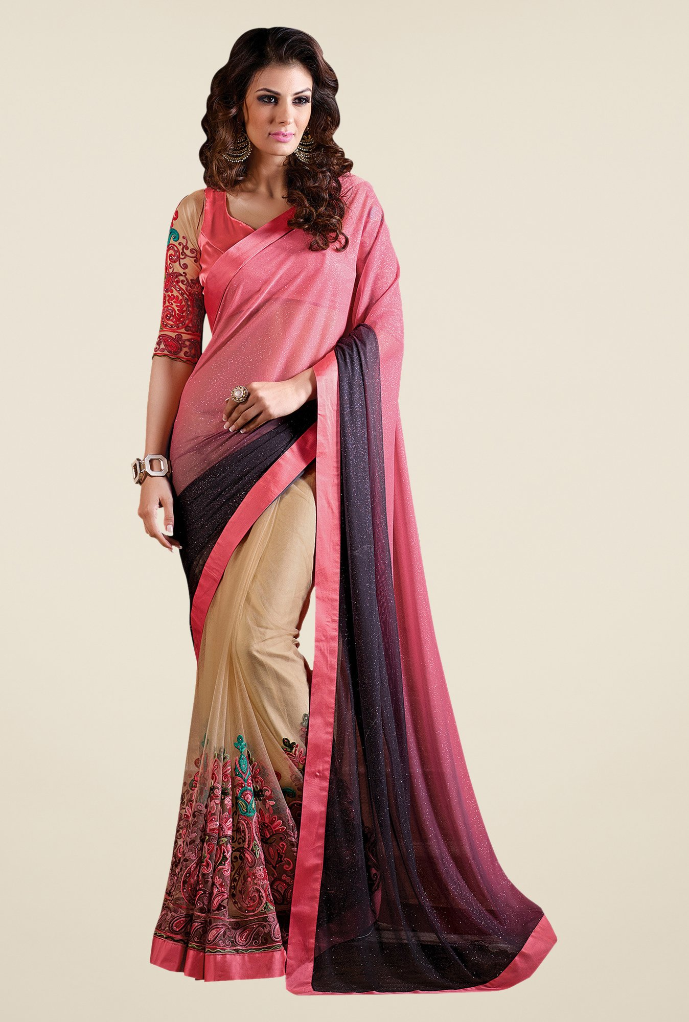 Shonaya Beige & Peach Net & Georgette Embroidered Saree