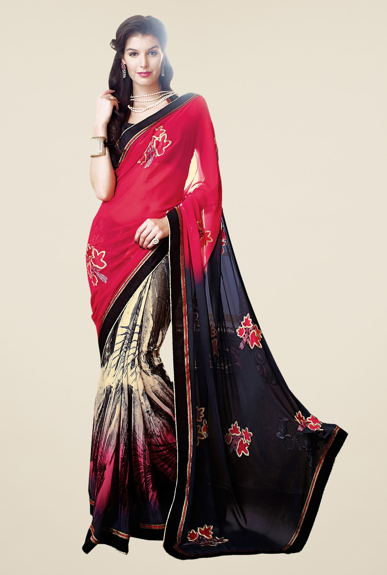 Shonaya Red & Navy Faux Georgette Printed Saree