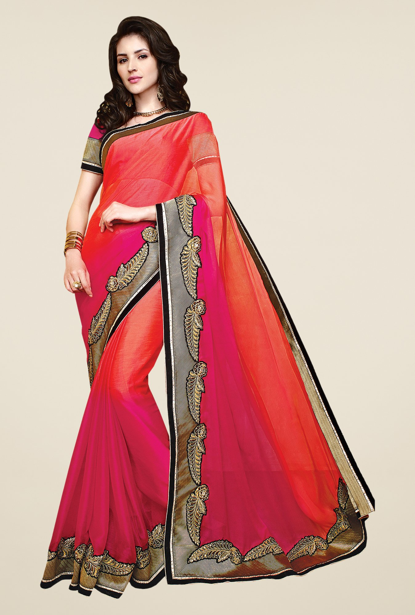 Shonaya Pink & Coral Chiffon Embroidered Saree
