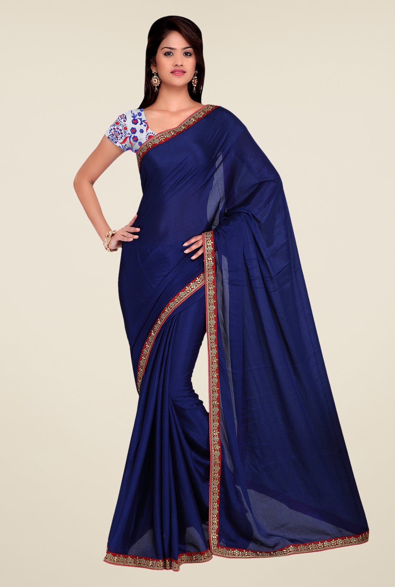 Shonaya Blue Crepe Chiffon Embroidered Saree
