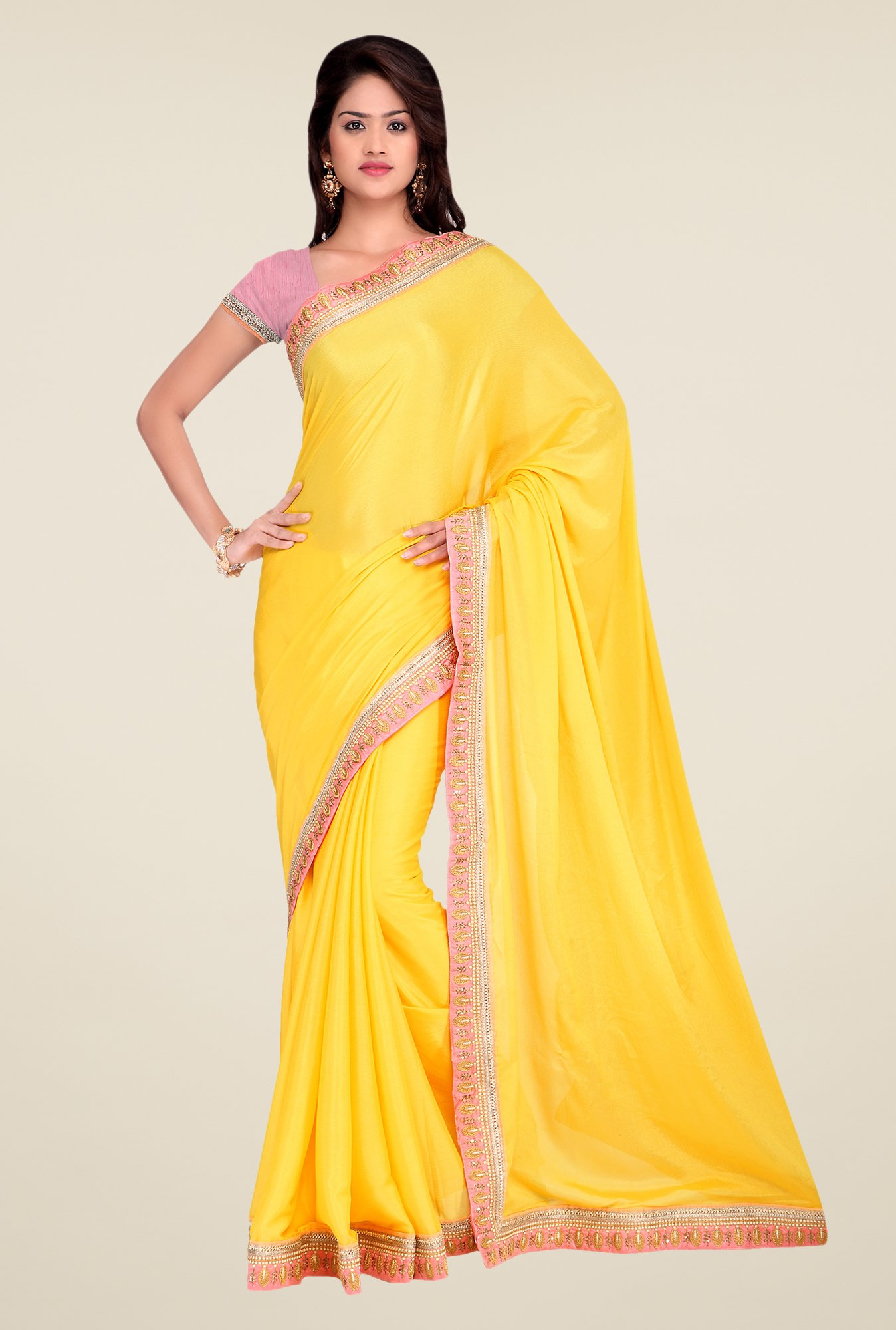 Shonaya Yellow Crepe Chiffon Embroidered Saree