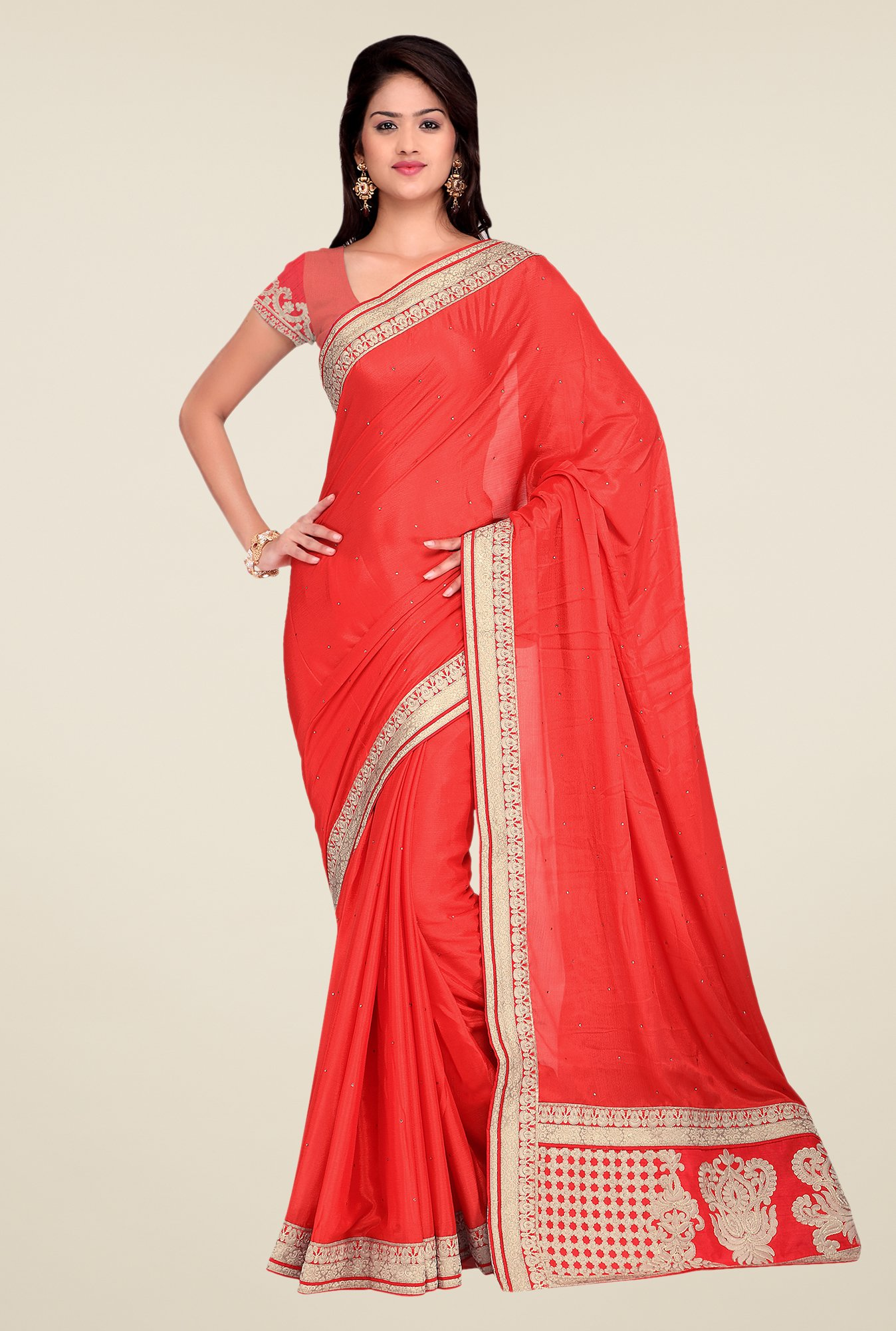 Shonaya Coral Crepe Chiffon Embroidered Saree