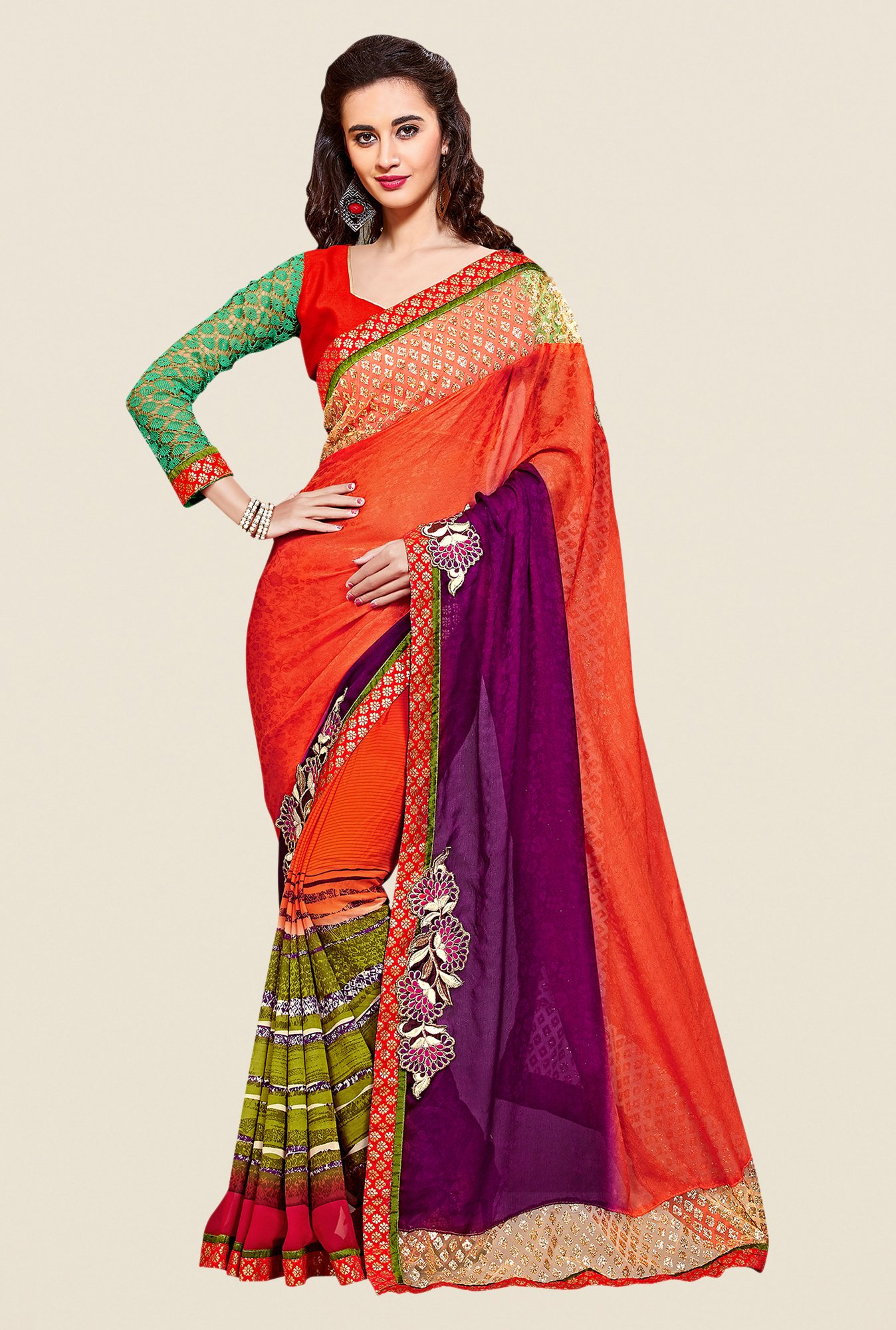 Shonaya Orange & Green Georgette Embroidered Saree