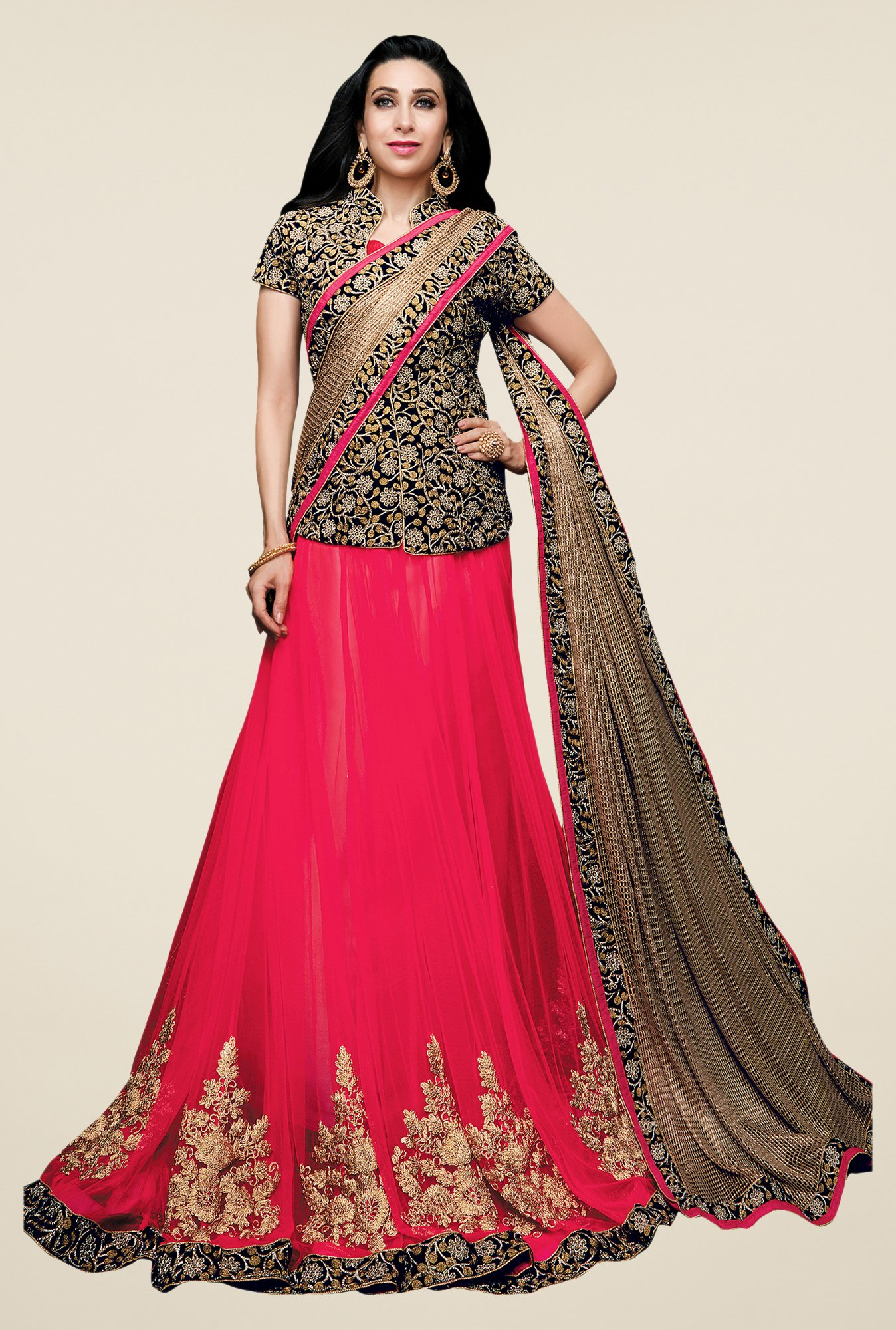 Shonaya Pink & Golden Net & Lycra Embroidered Lehenga Saree