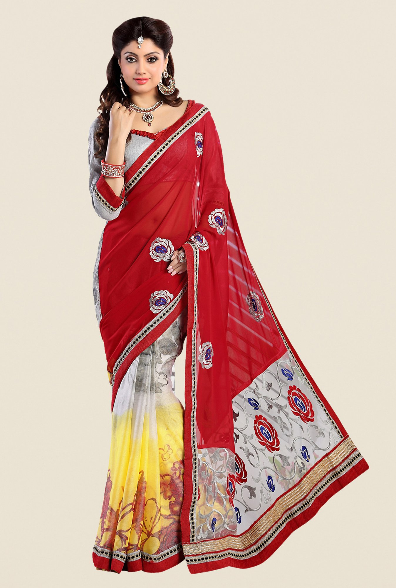 Shonaya Grey & Red Georgette Embroidered Saree