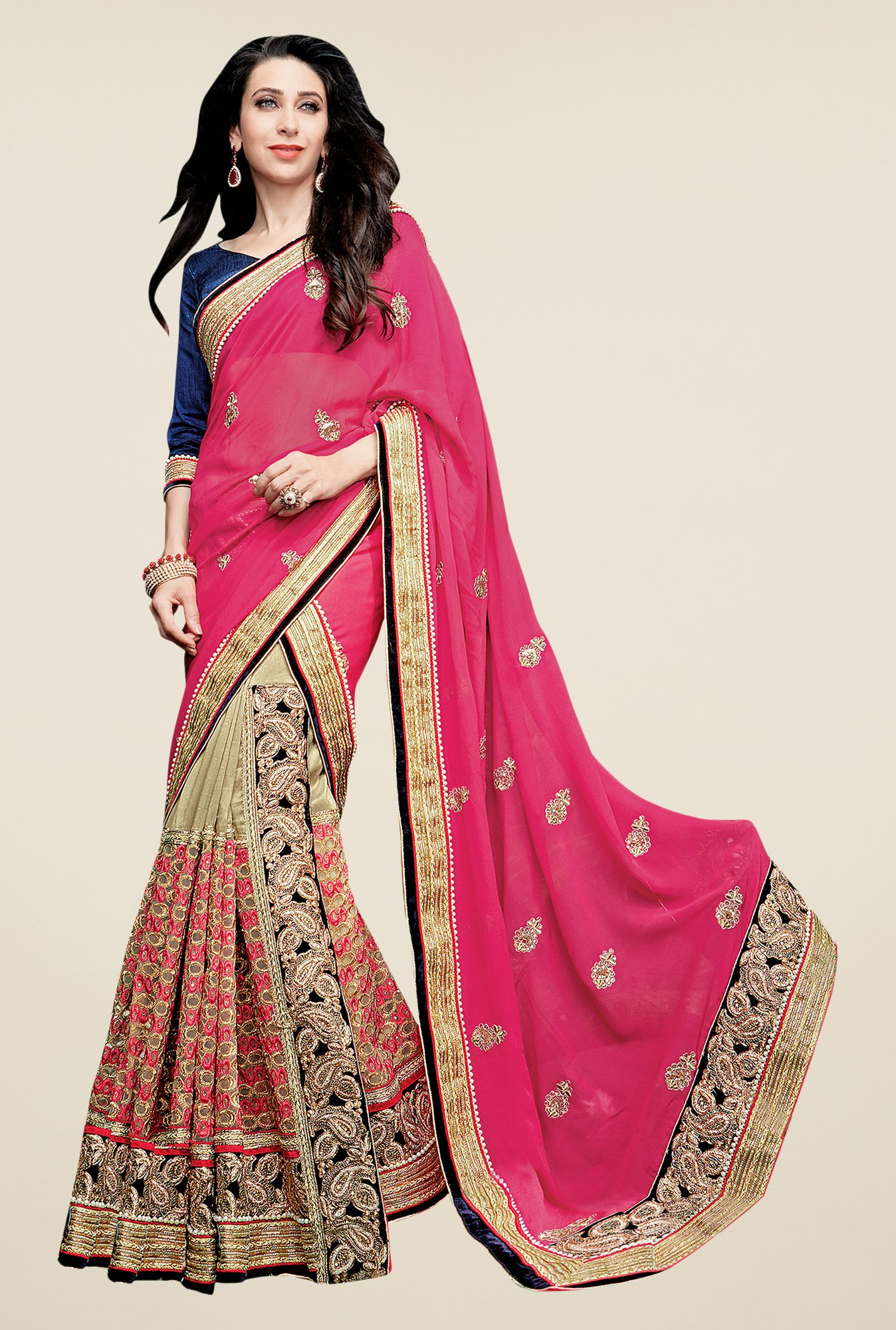 Shonaya Pink & Beige Net & Georgette Embroidered Saree