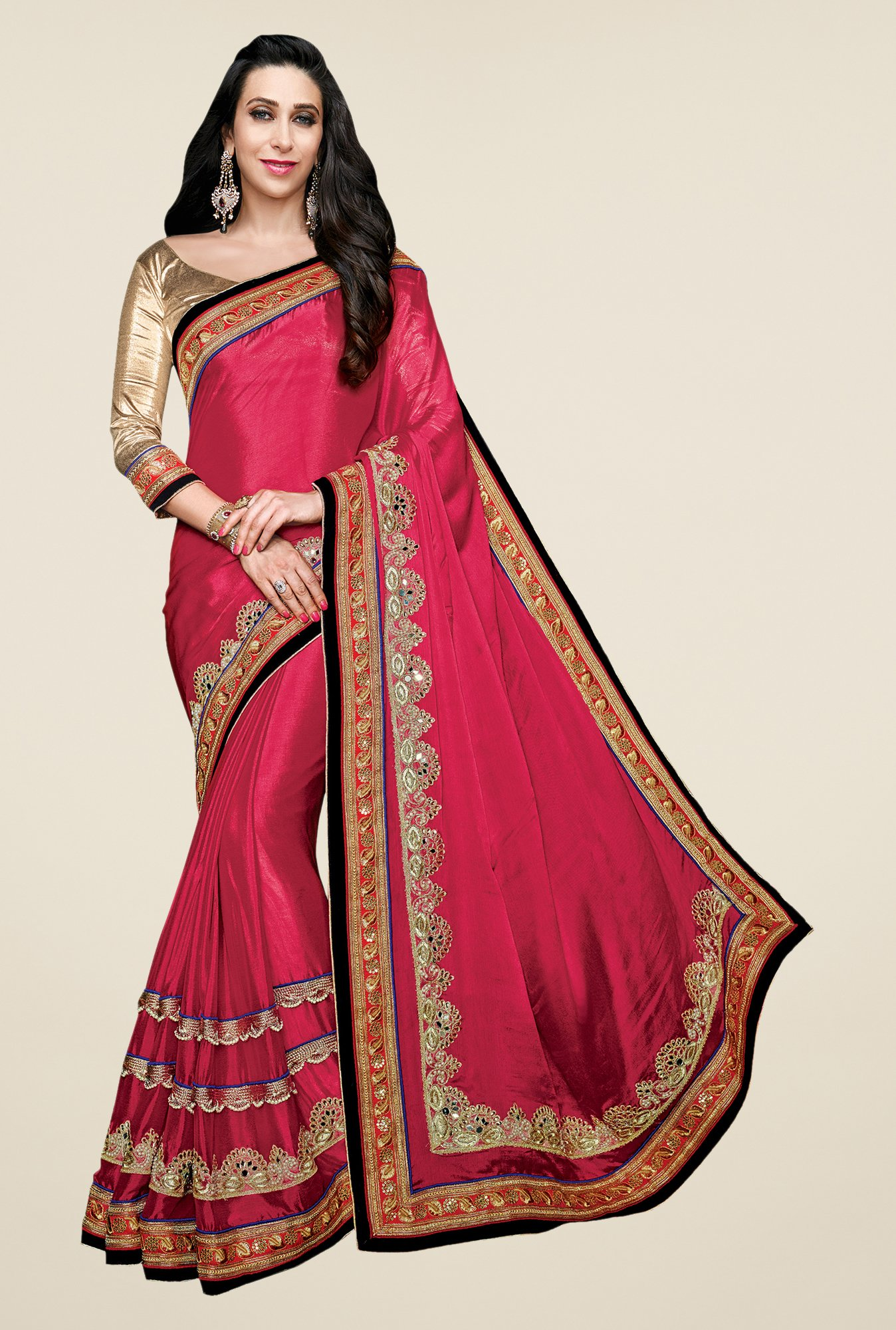 Shonaya Pink Georgette Embroidered Saree