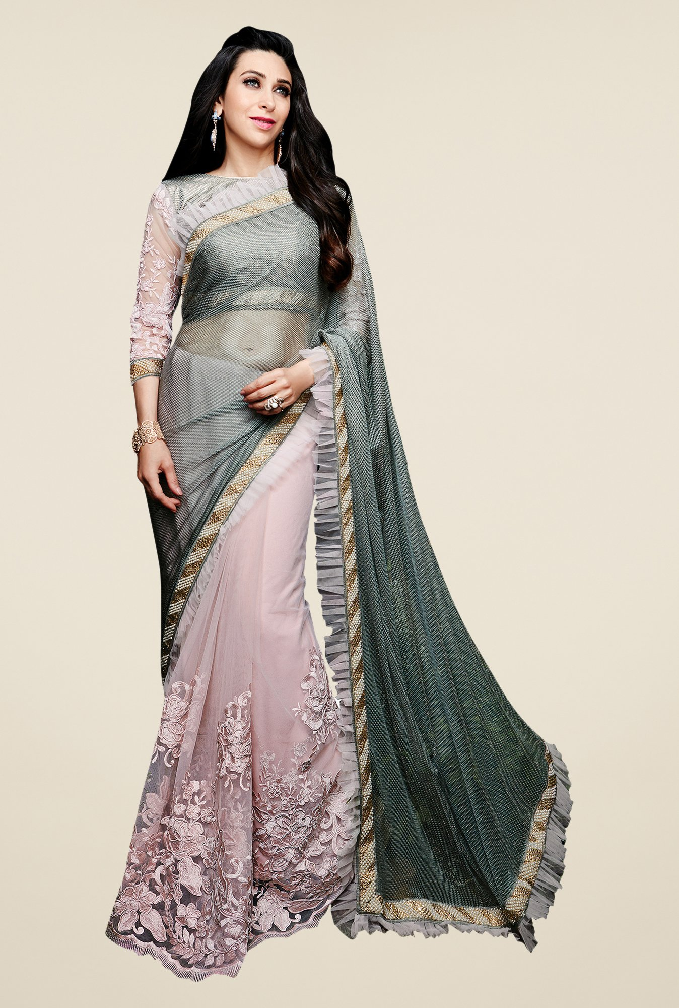 Shonaya Grey Net & Silk Embroidered Saree