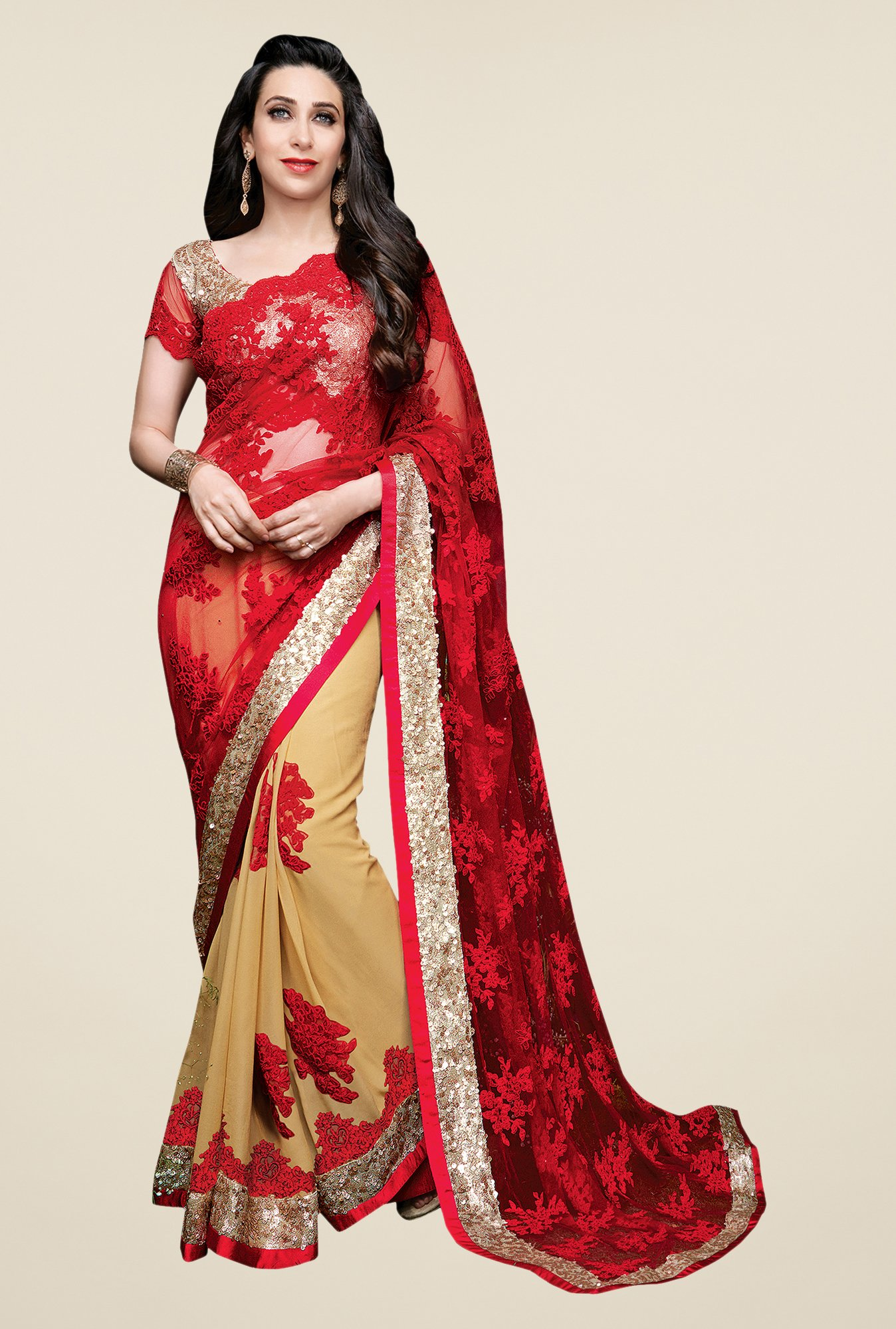Shonaya Red & Beige Net & Lycra Embroidered Saree