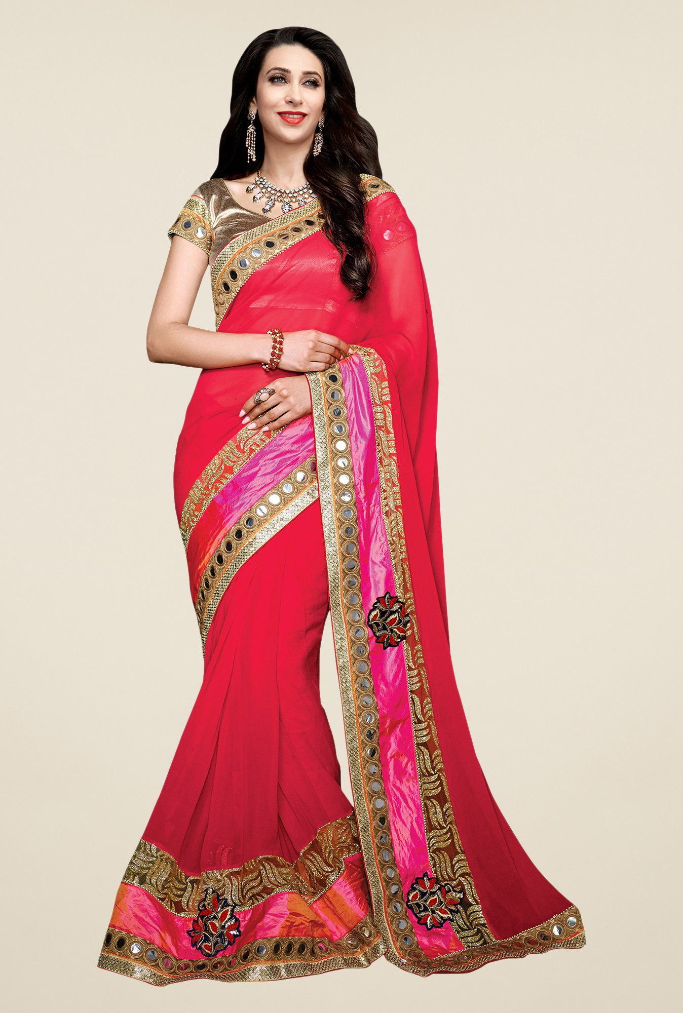 Shonaya Red Georgette Solid Saree