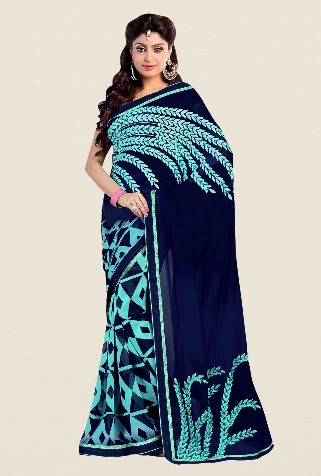 Shonaya Navy Georgette Embroidered Saree