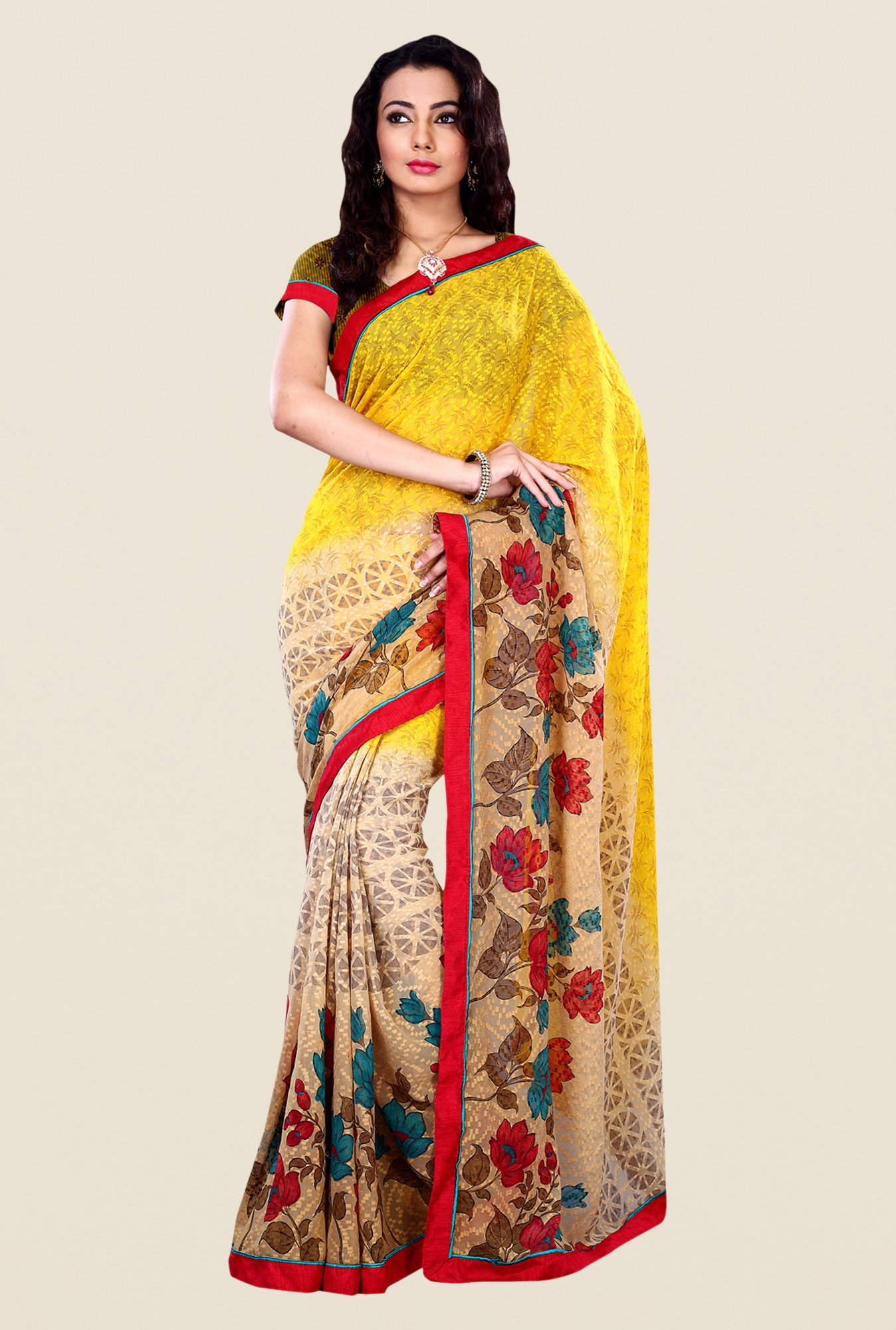 Shonaya Beige & Yellow Georgette & Viscose Printed Saree