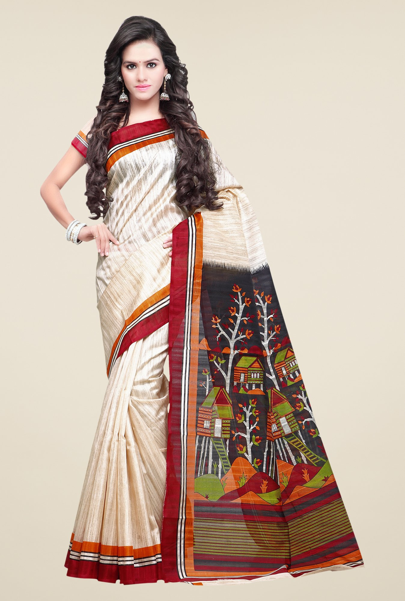 Shonaya Cream & Red Bhagalpuri Silk Printed Saree