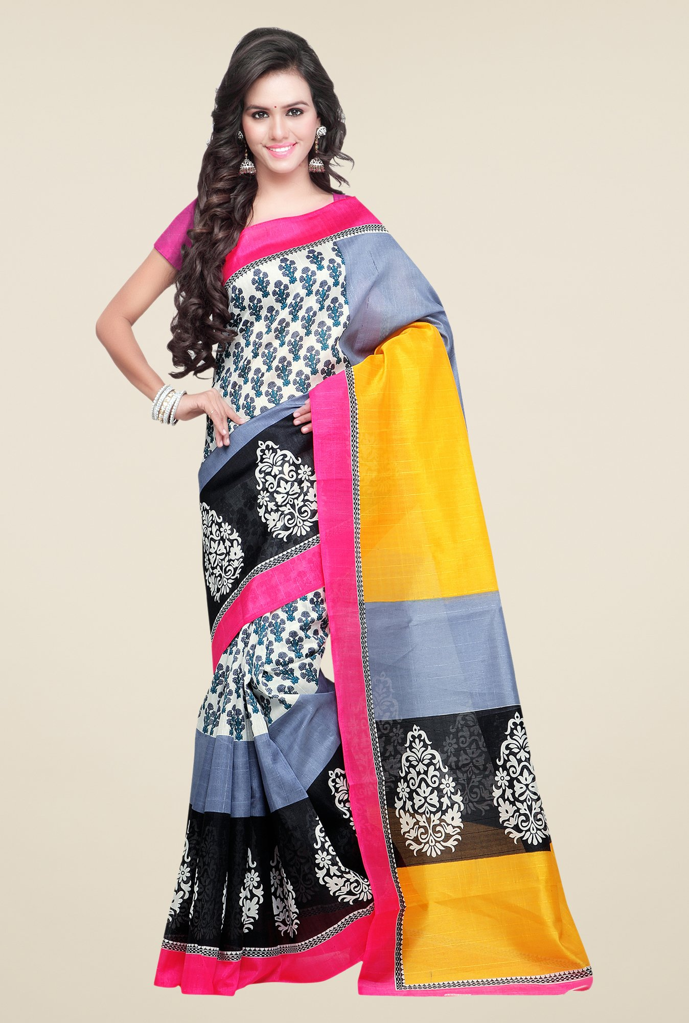 Shonaya Grey & Black Bhagalpuri Silk Block Print Saree