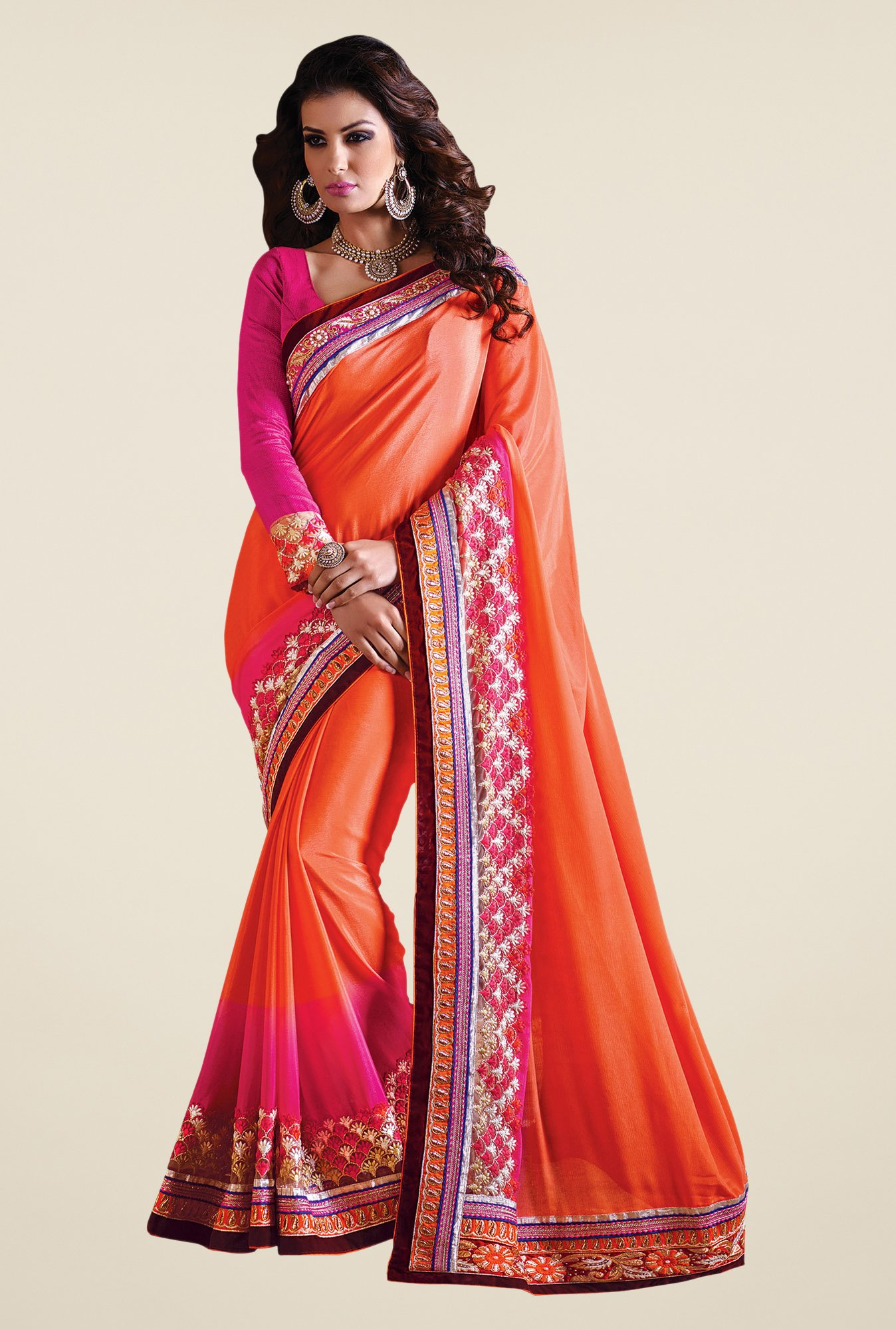 Shonaya Orange & Pink Satin Chiffon Embroidered Saree