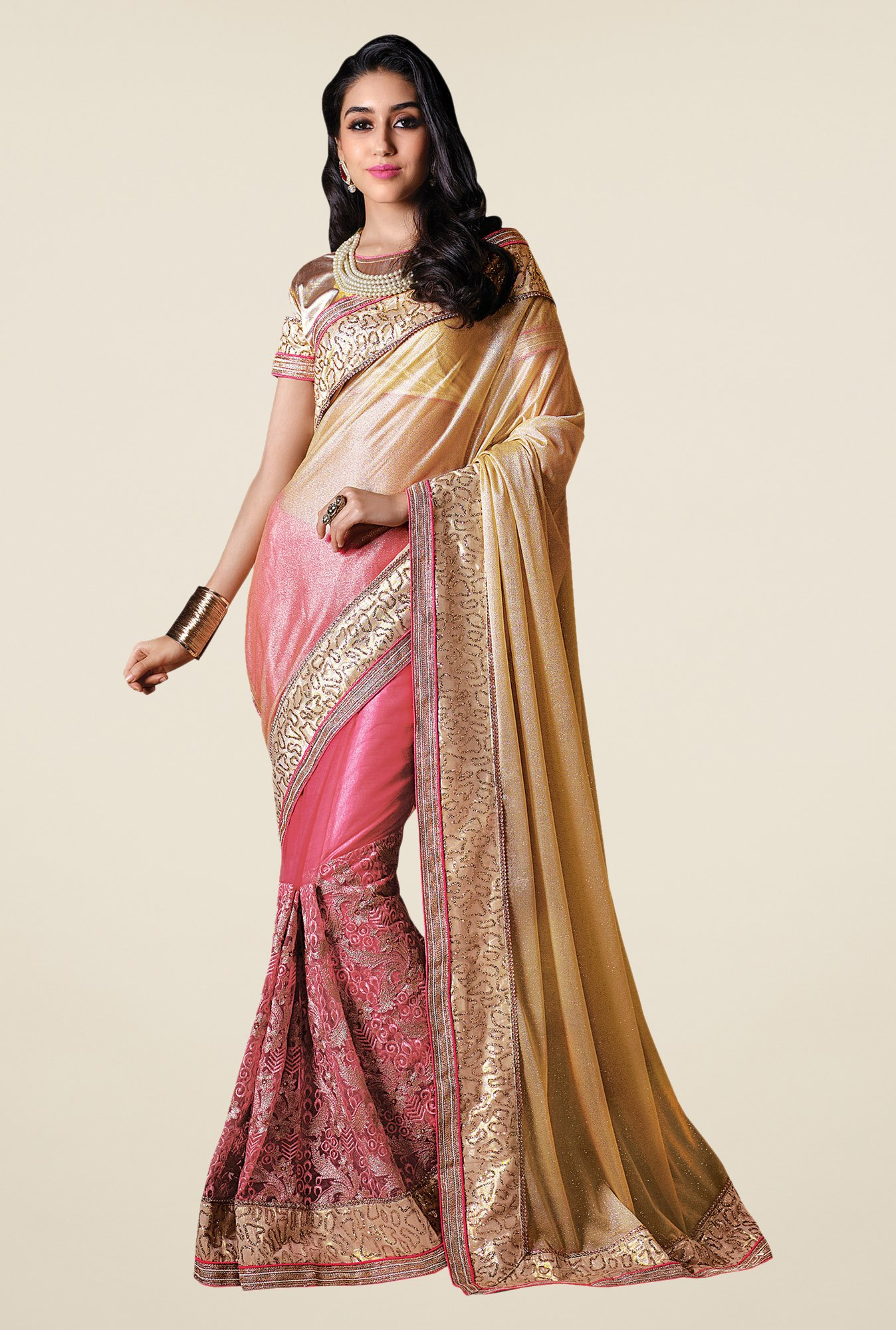 Shonaya Pink & Beige Net & Georgette Lycra Embroidered Saree
