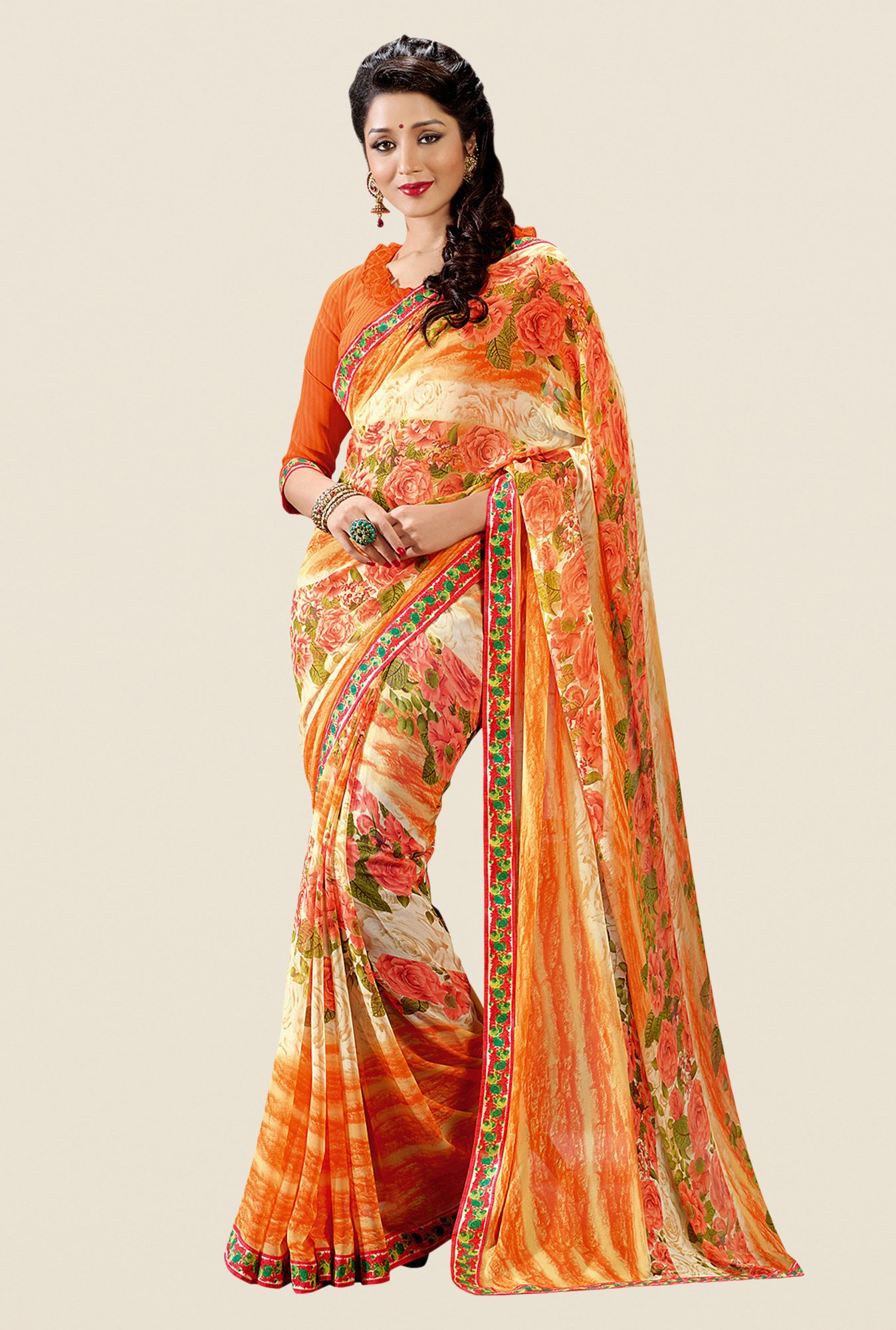 Shonaya Orange Georgette Floral Print Saree