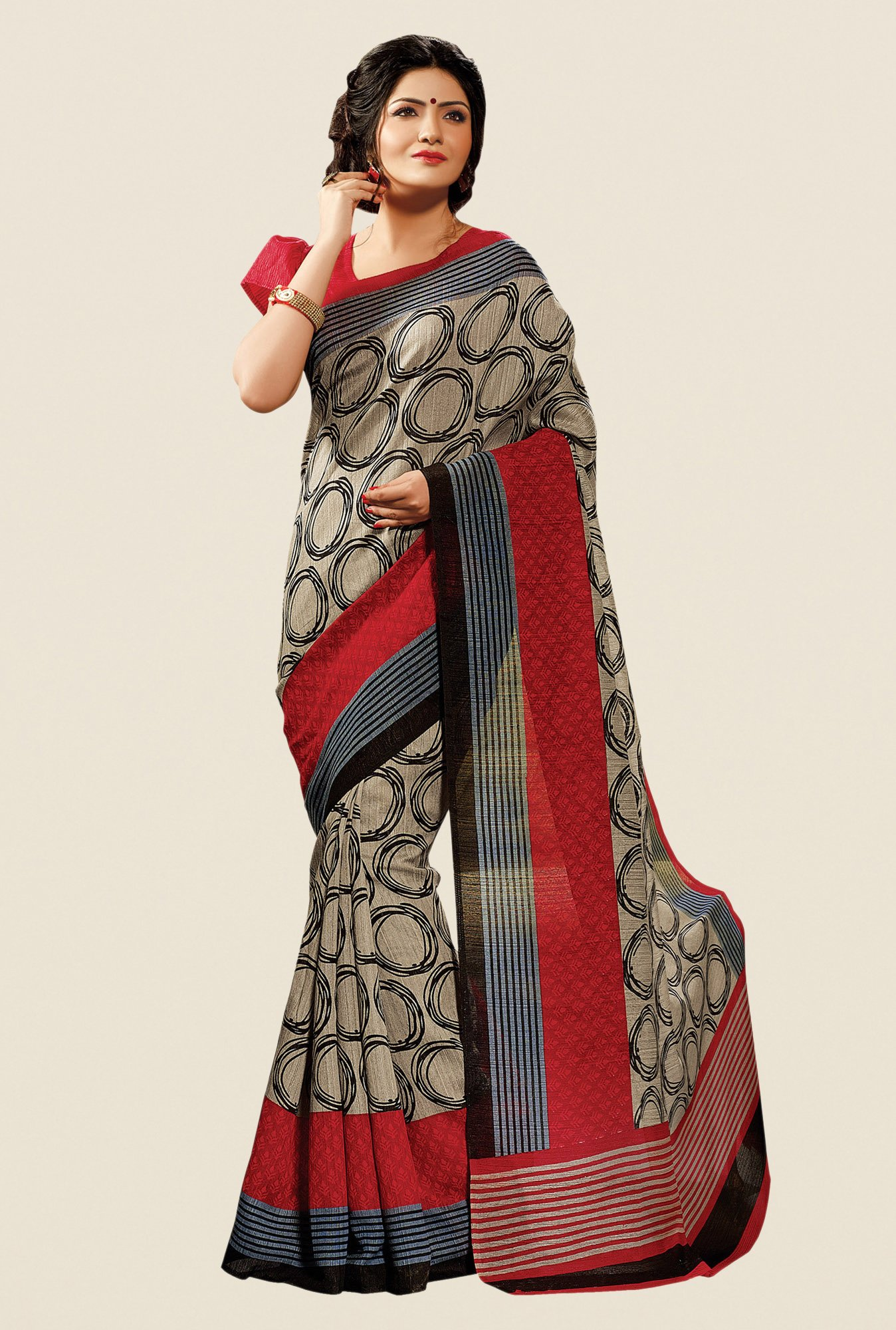 Shonaya Beige & Red Cotton Silk Printed Saree
