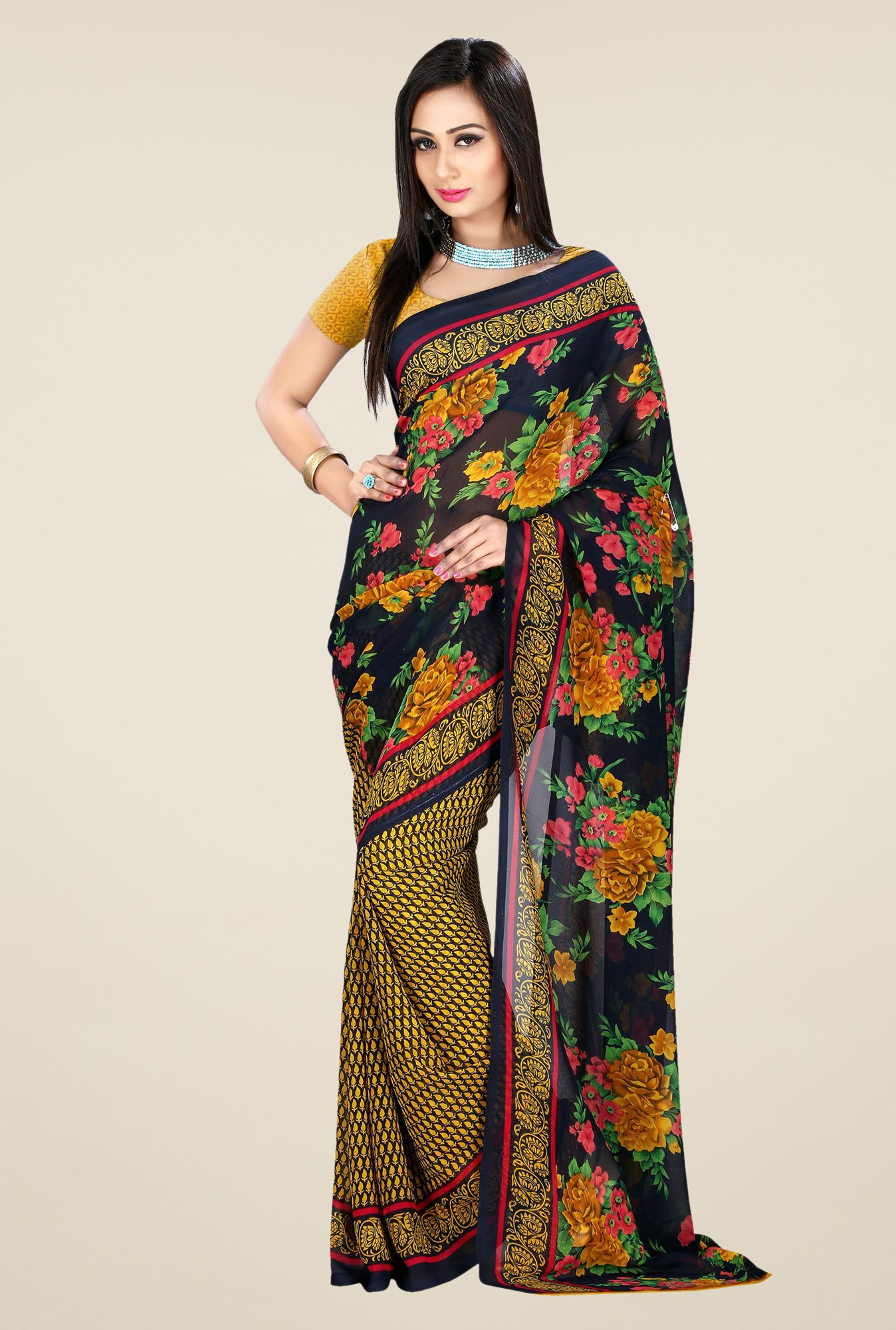 Shonaya Black & Yellow Georgette Floral Print Saree