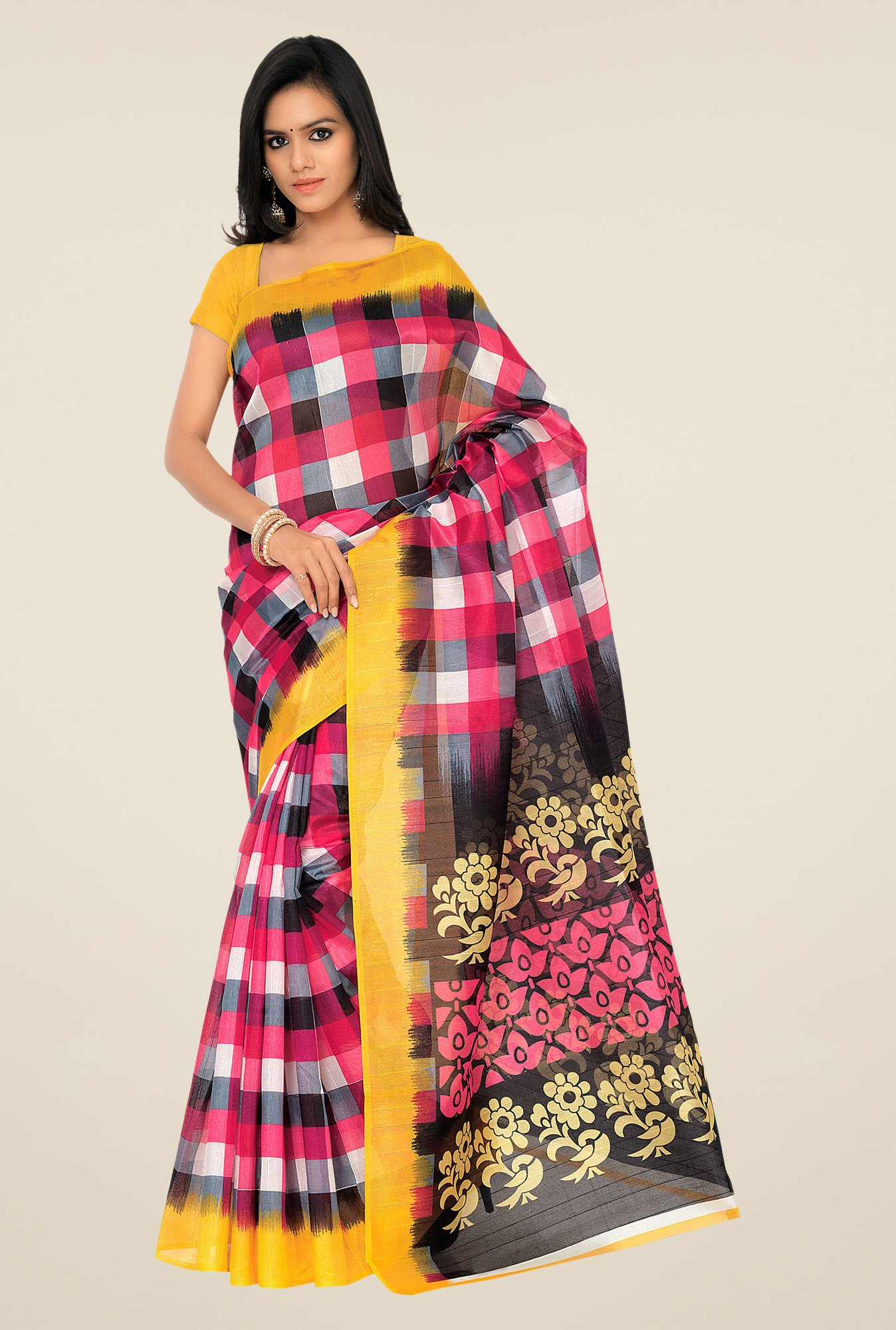 Shonaya Pink & Yellow Bhagalpuri Silk Checks Saree
