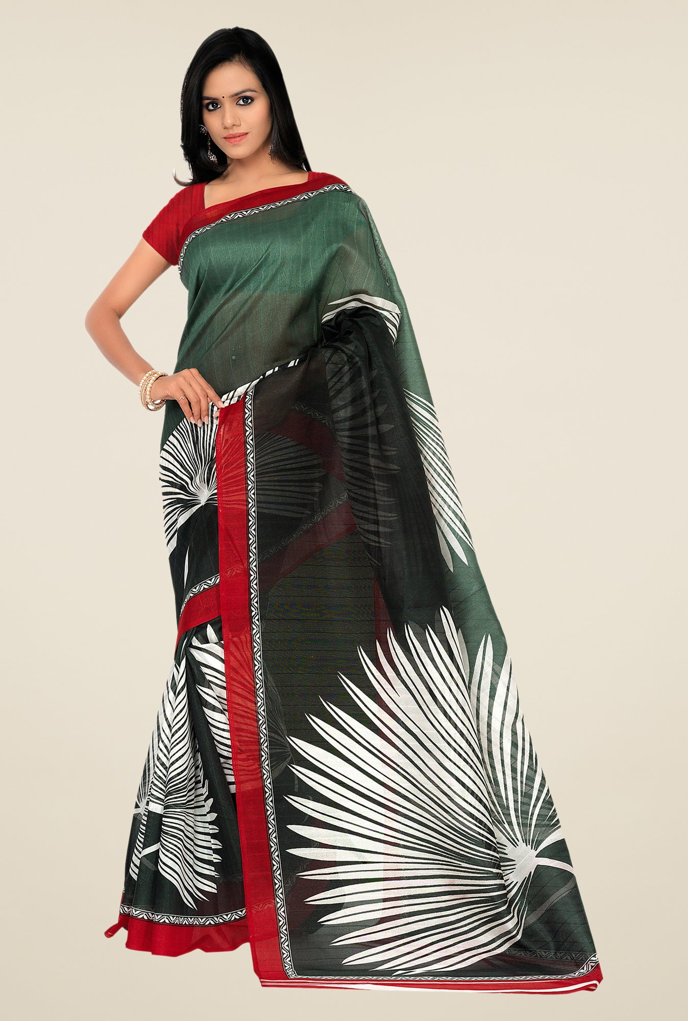Shonaya Green & Grey Bhagalpuri Silk Printed Saree