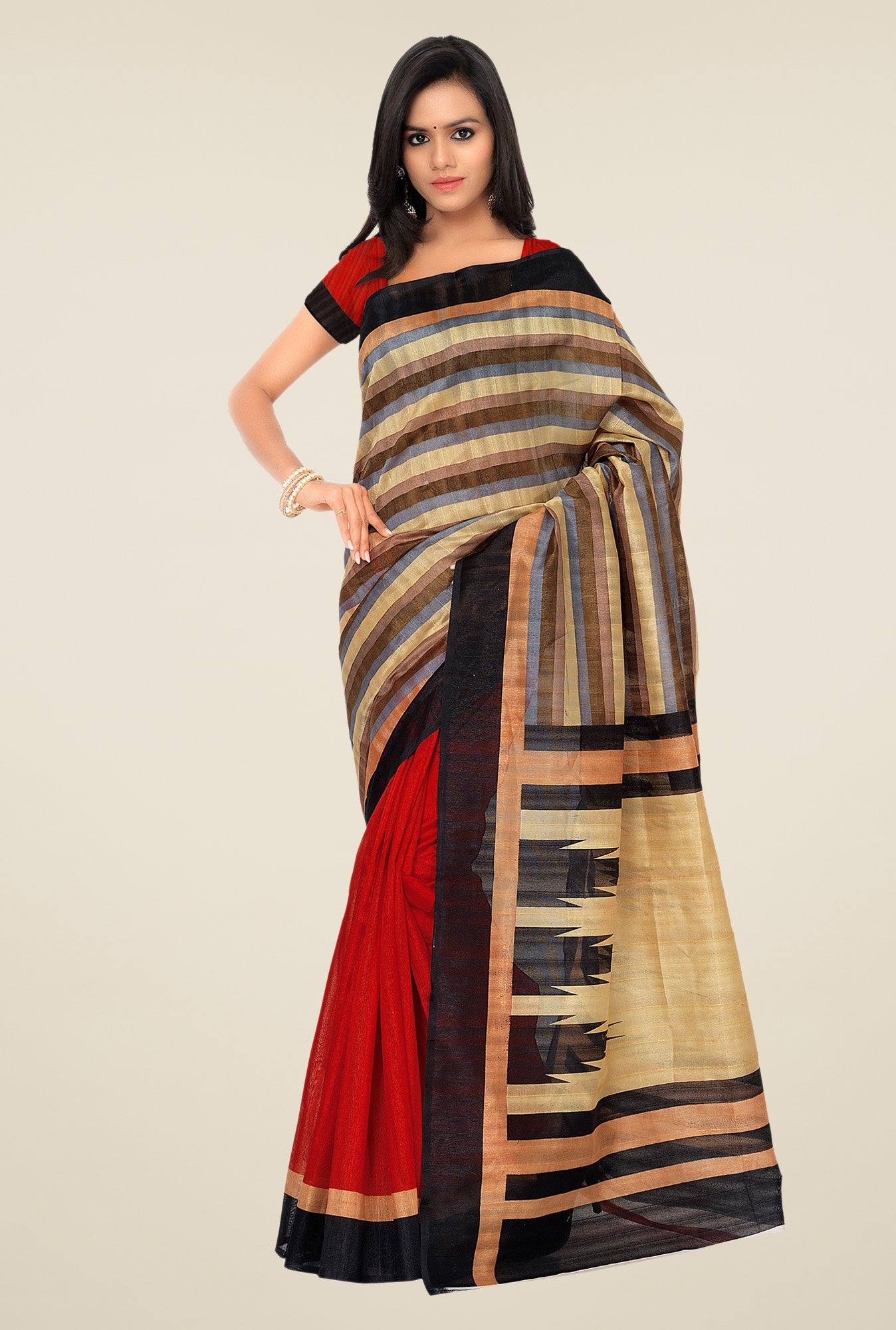 Shonaya Beige & Red Bhagalpuri Silk Striped Saree