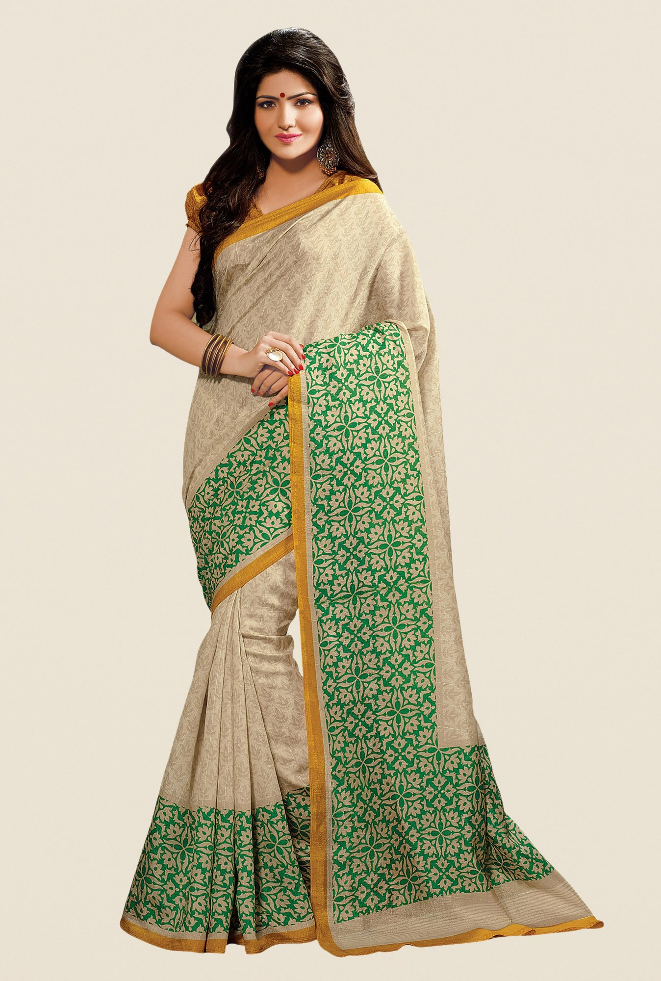 Shonaya Beige & Green Cotton Silk Printed Saree