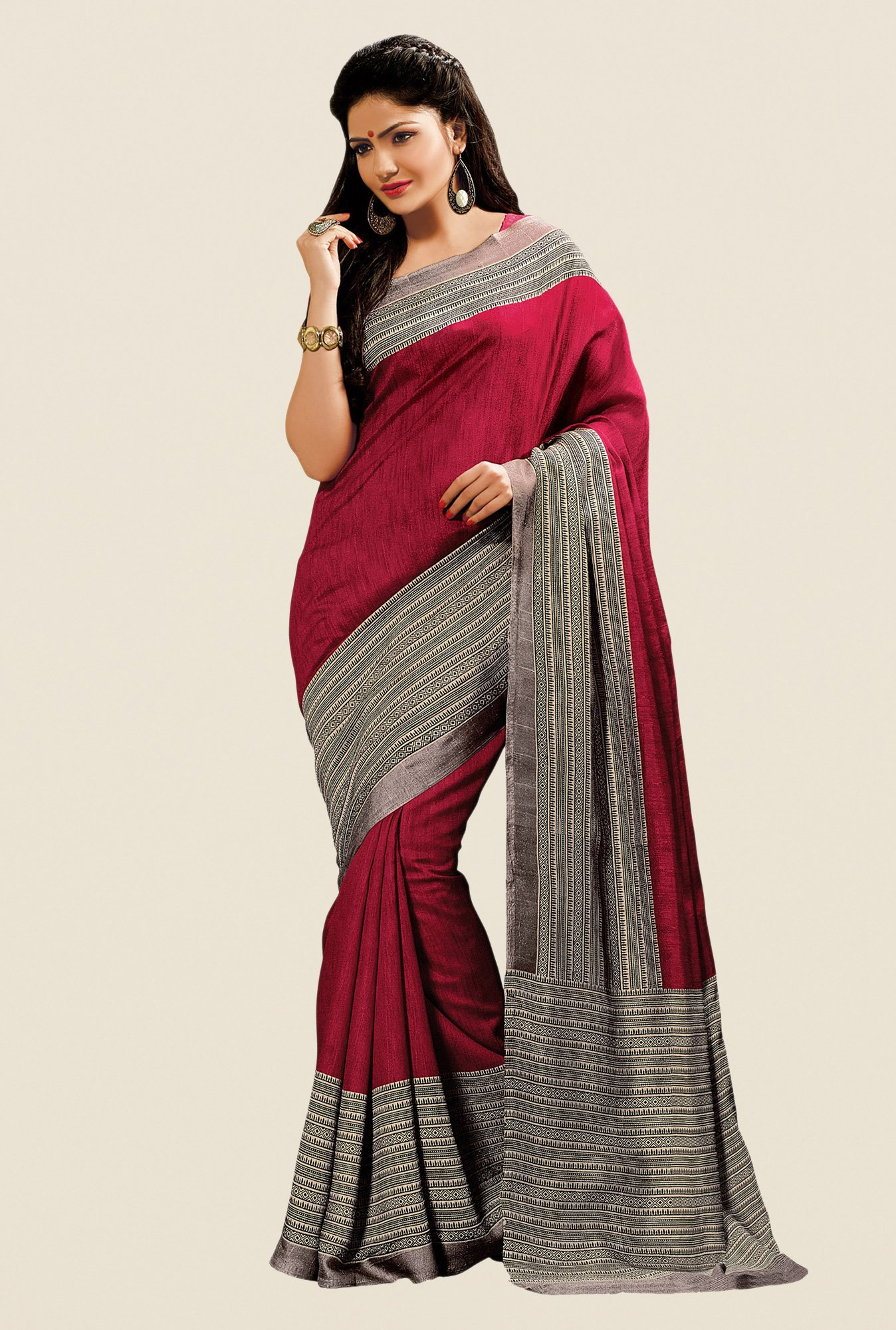Shonaya Maroon & Grey Cotton Silk Printed Saree