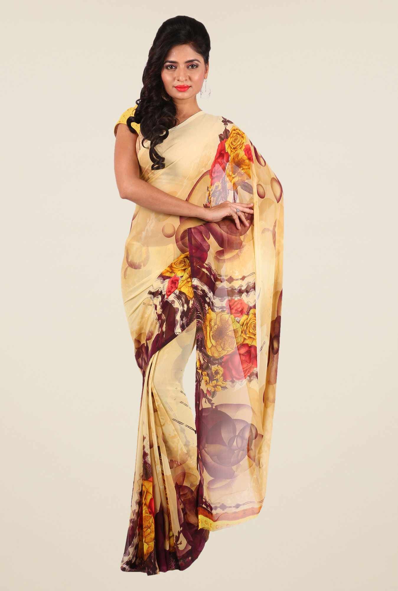 Shonaya Beige & Yellow Georgette Printed Saree