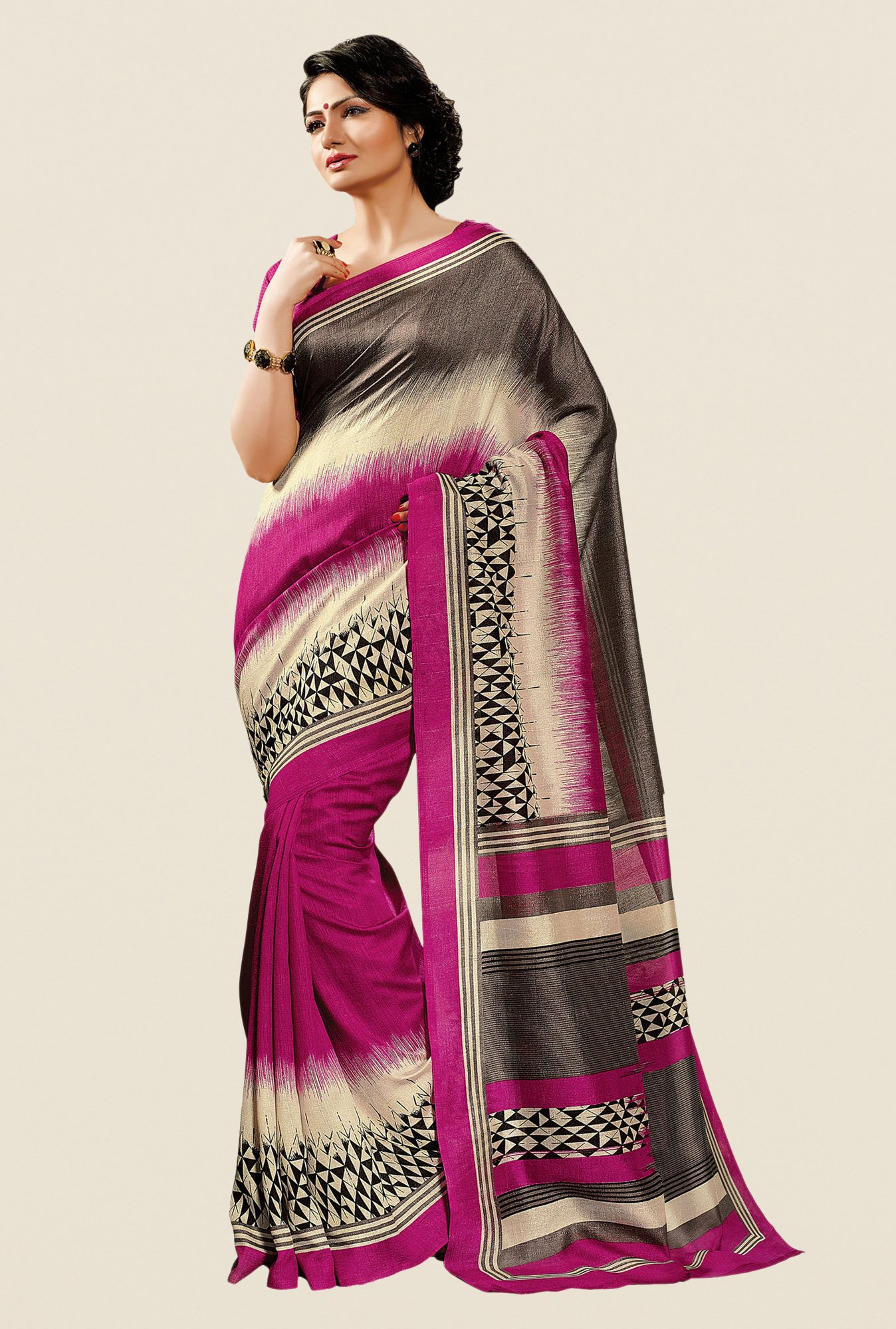 Shonaya Purple Cotton Silk Printed Saree