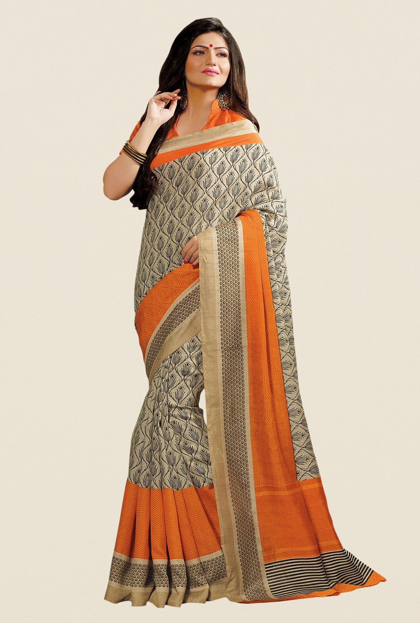 Shonaya Beige & Orange Cotton Silk Printed Saree