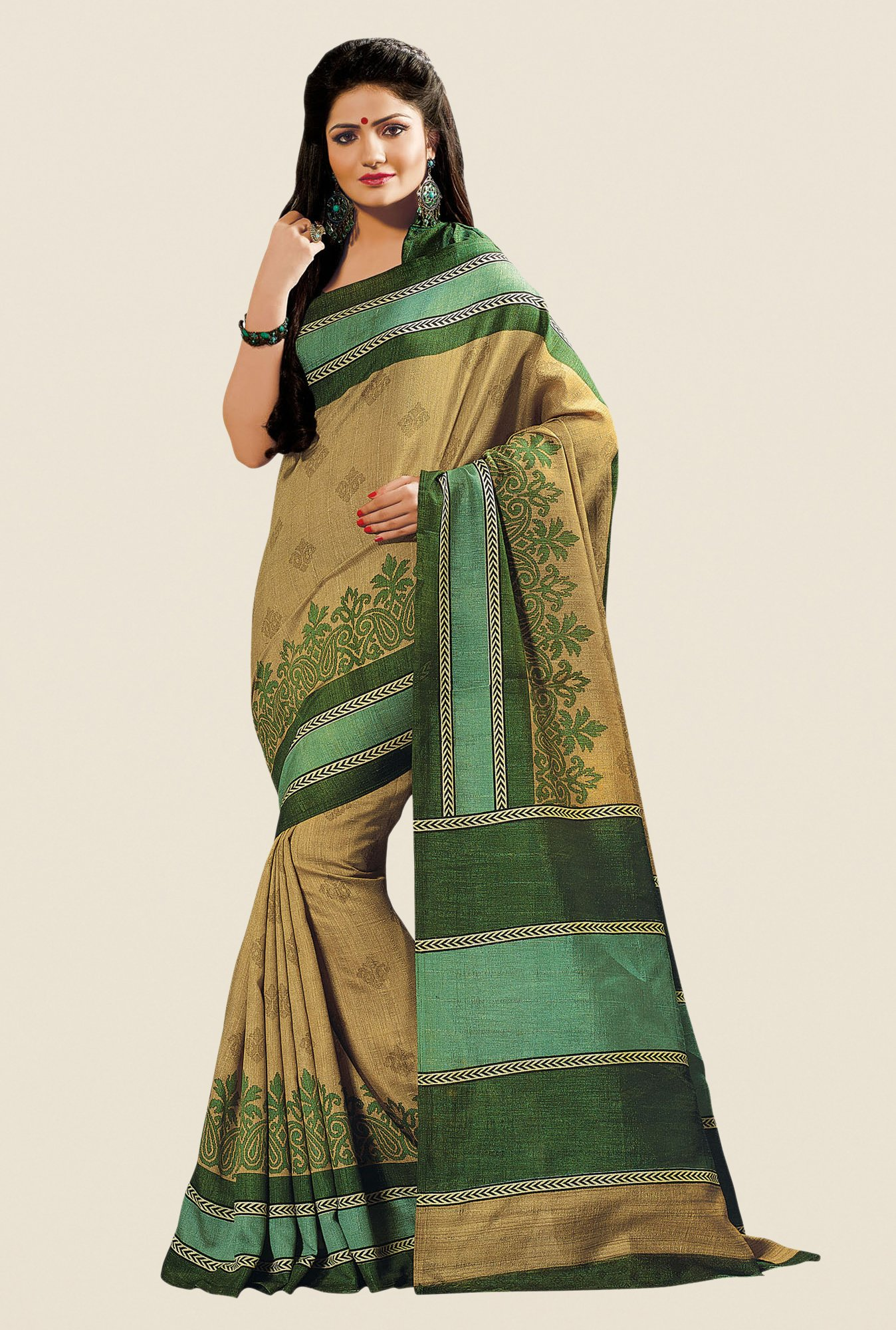 Shonaya Gold & Green Cotton Silk Printed Saree