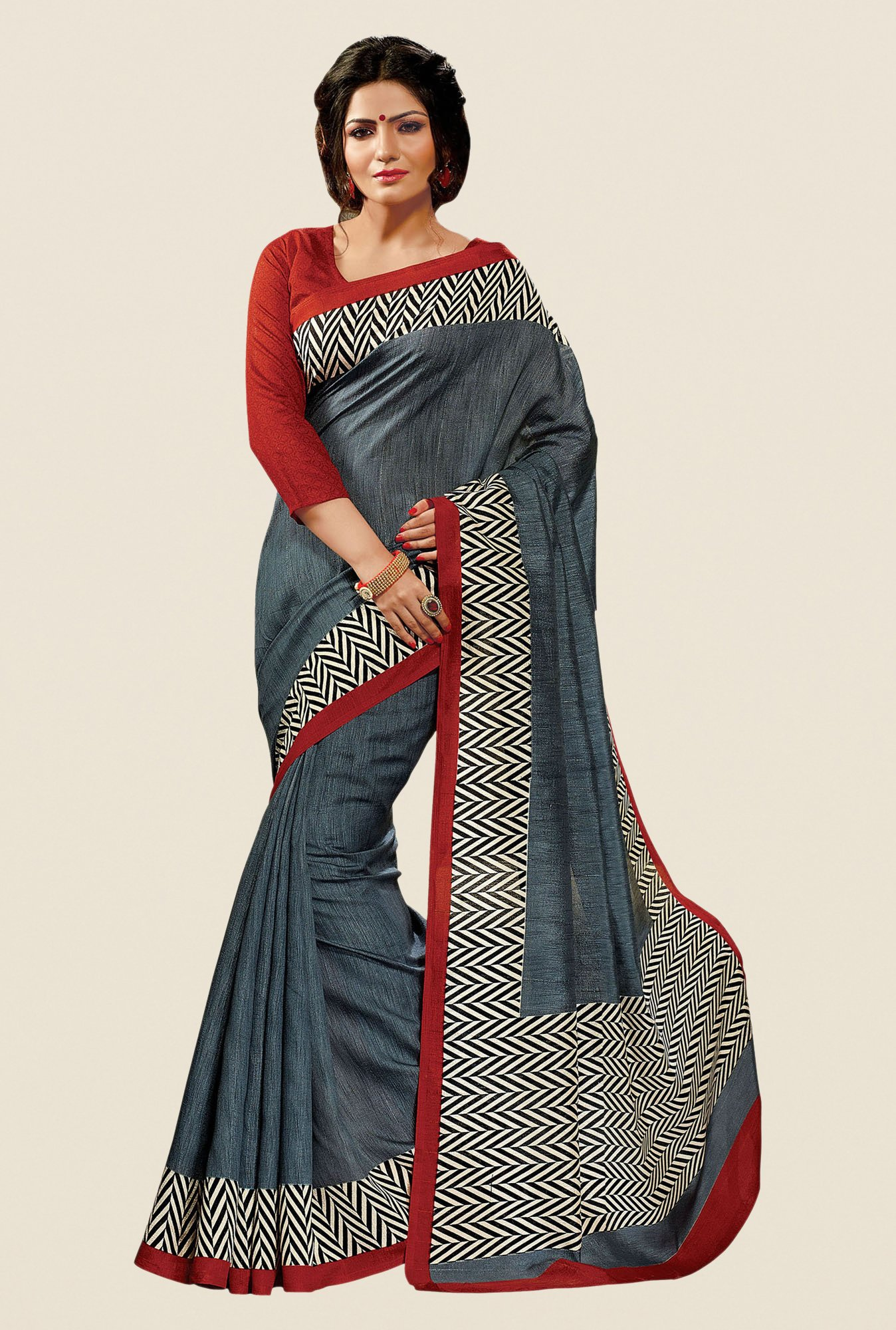 Shonaya Grey Cotton Silk Printed Saree