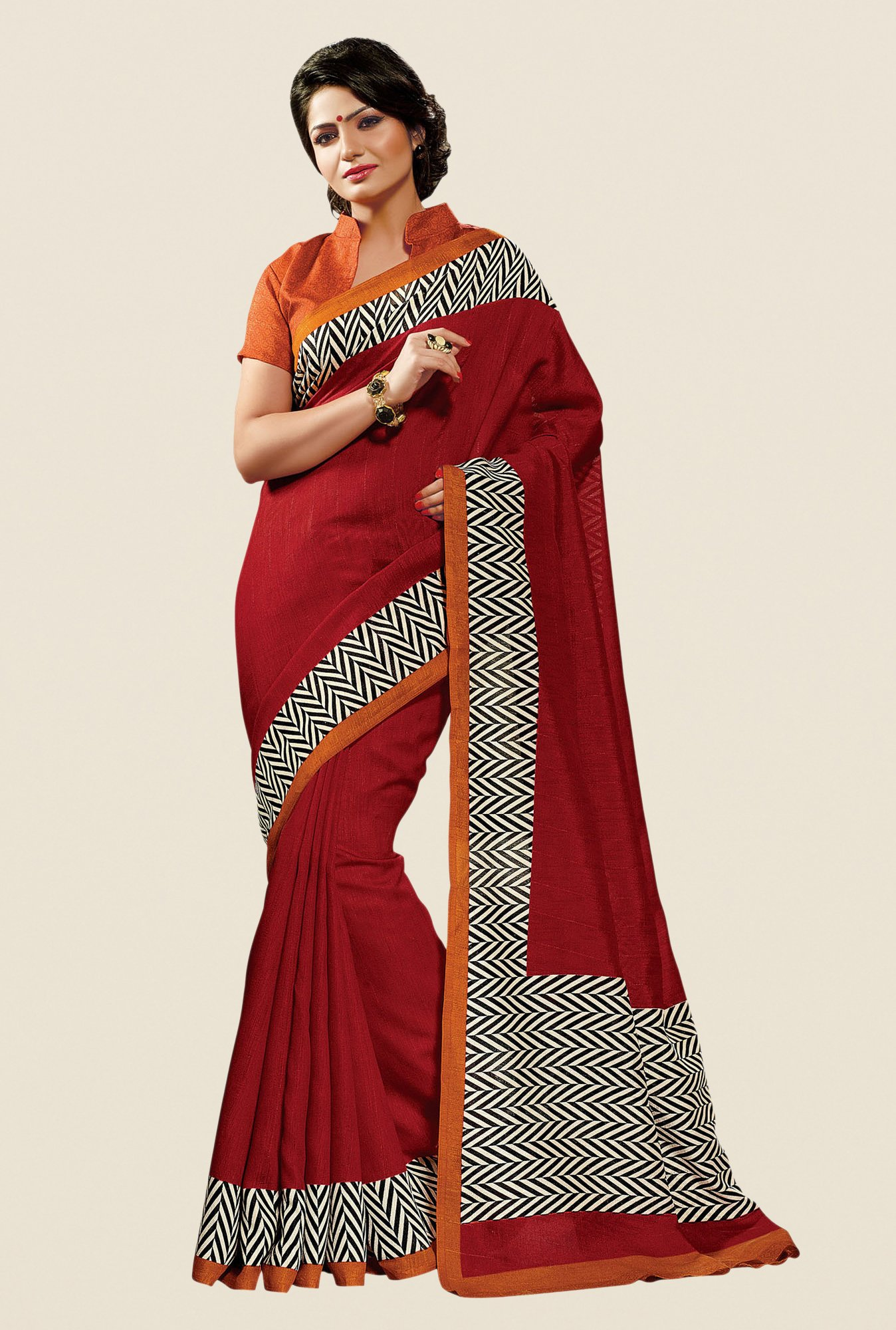 Shonaya Rust Cotton Silk Printed Saree
