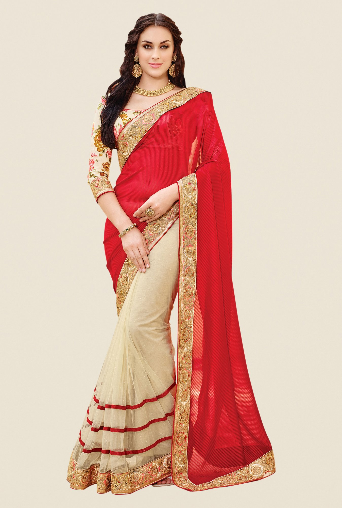 Shonaya Beige & Red Net & Georgette Solid Saree
