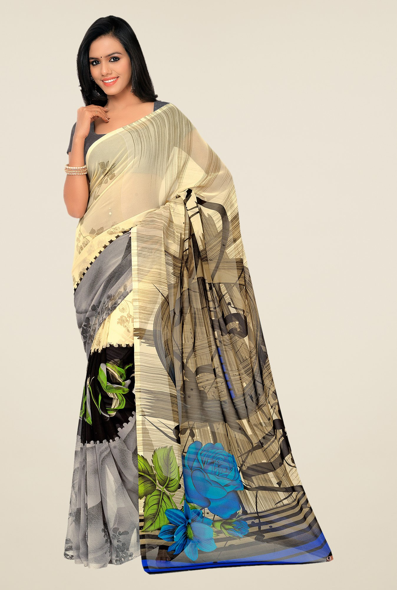 Shonaya Beige & Grey Georgette Printed Saree