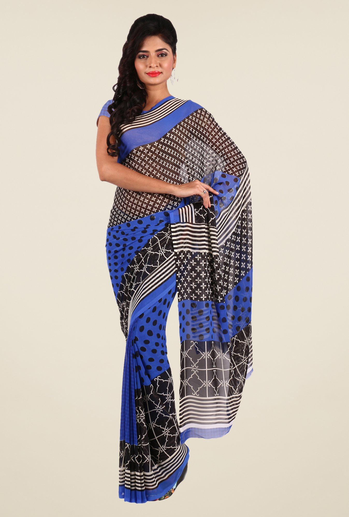 Shonaya Blue & Black Georgette Printed Saree