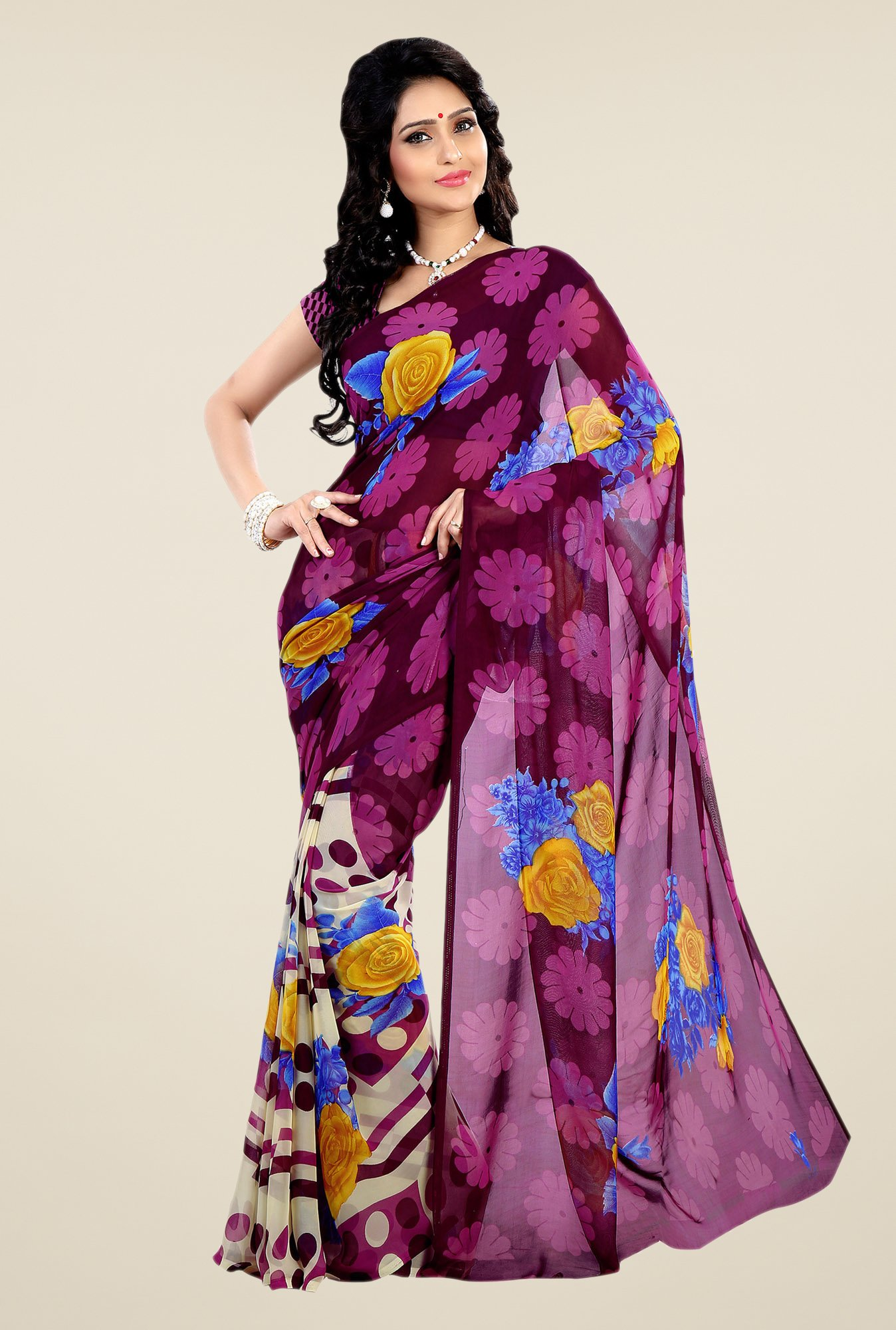 Shonaya Purple & Cream Faux Georgette Floral Print Saree