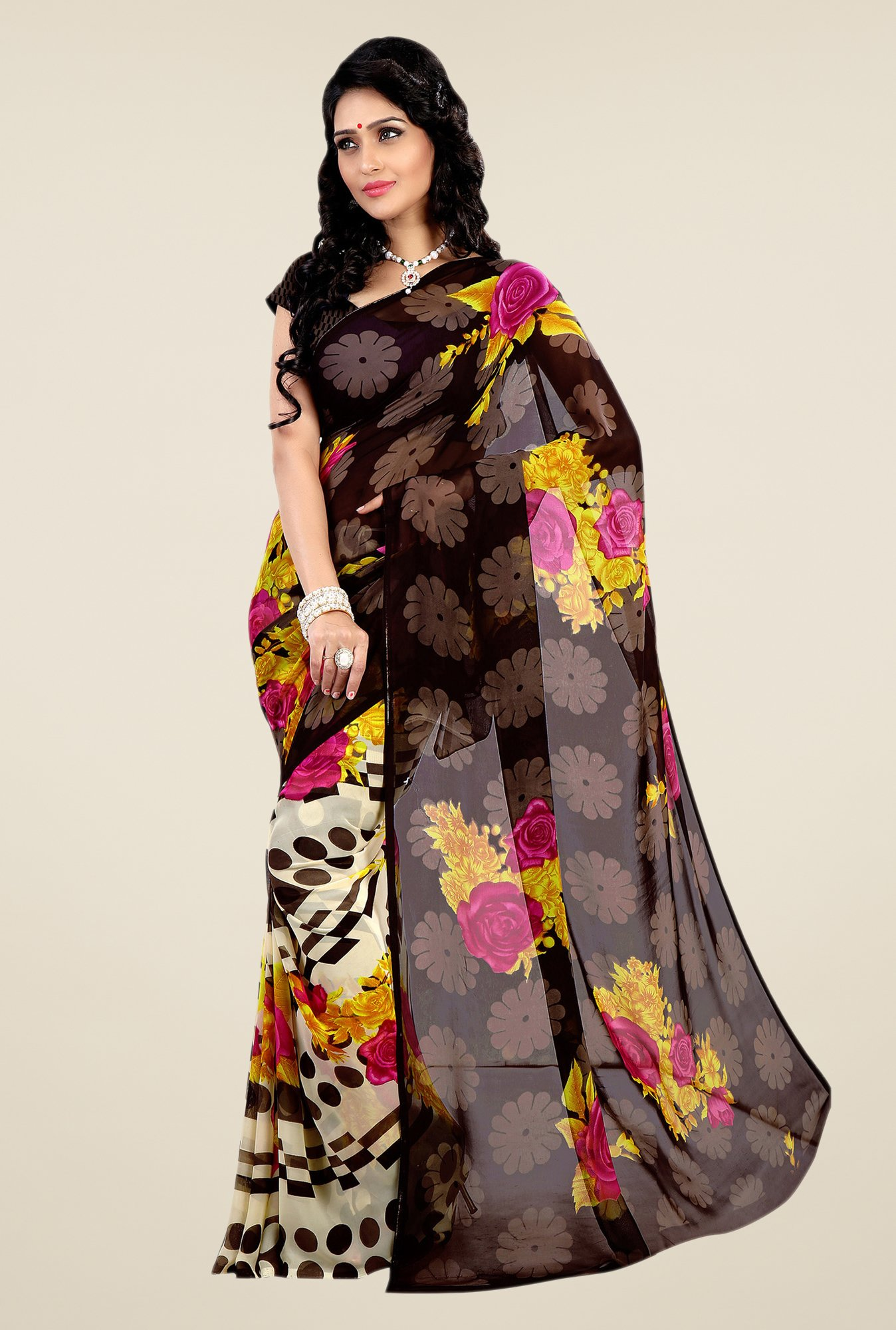 Shonaya Brown & Cream Faux Georgette Floral Print Saree