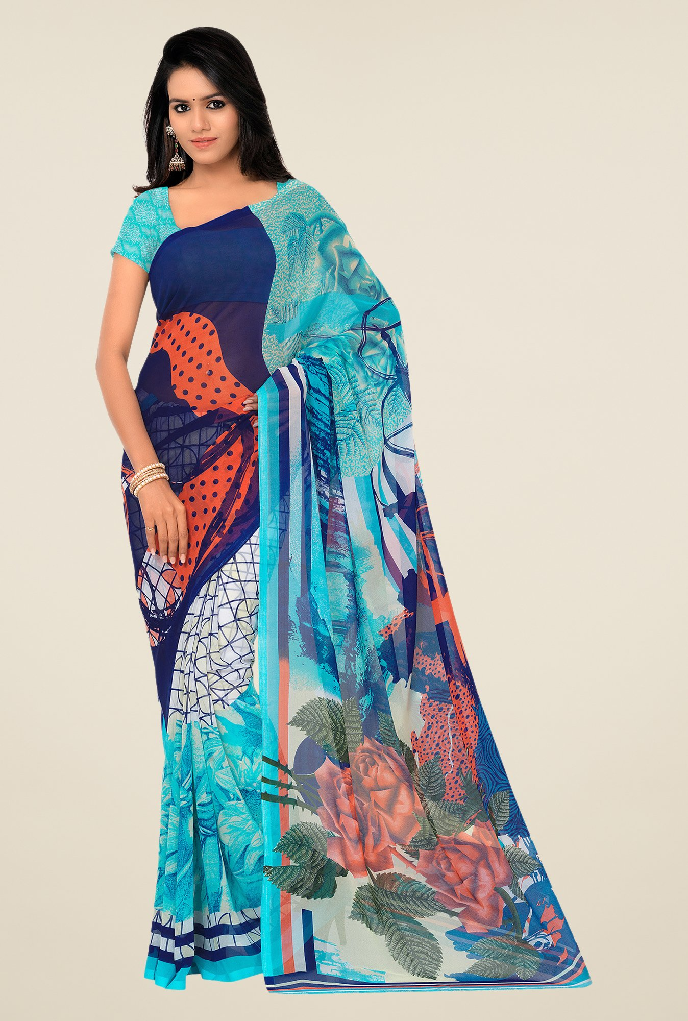 Shonaya Blue Georgette Printed Saree
