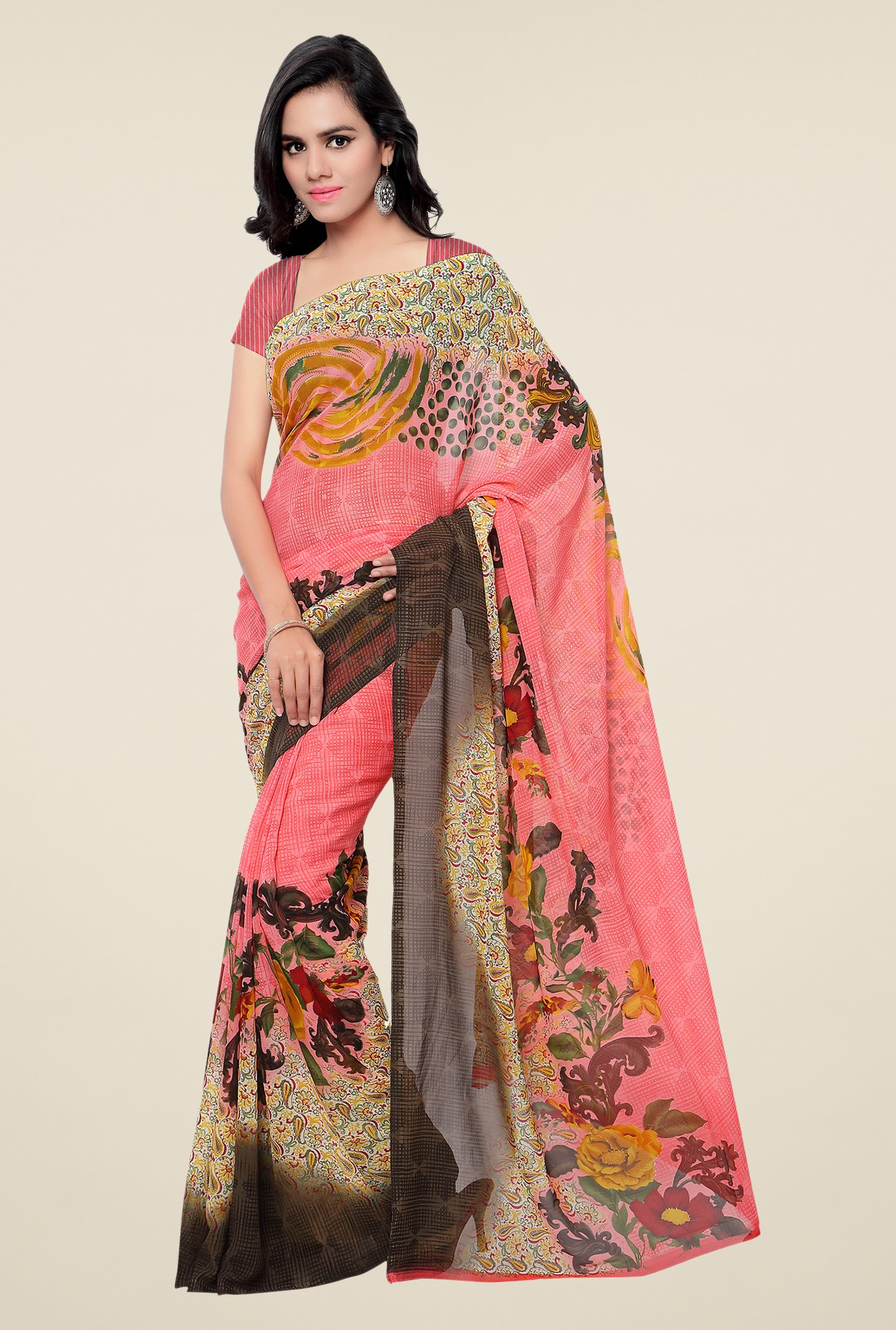 Shonaya Pink & Brown Georgette Printed Saree