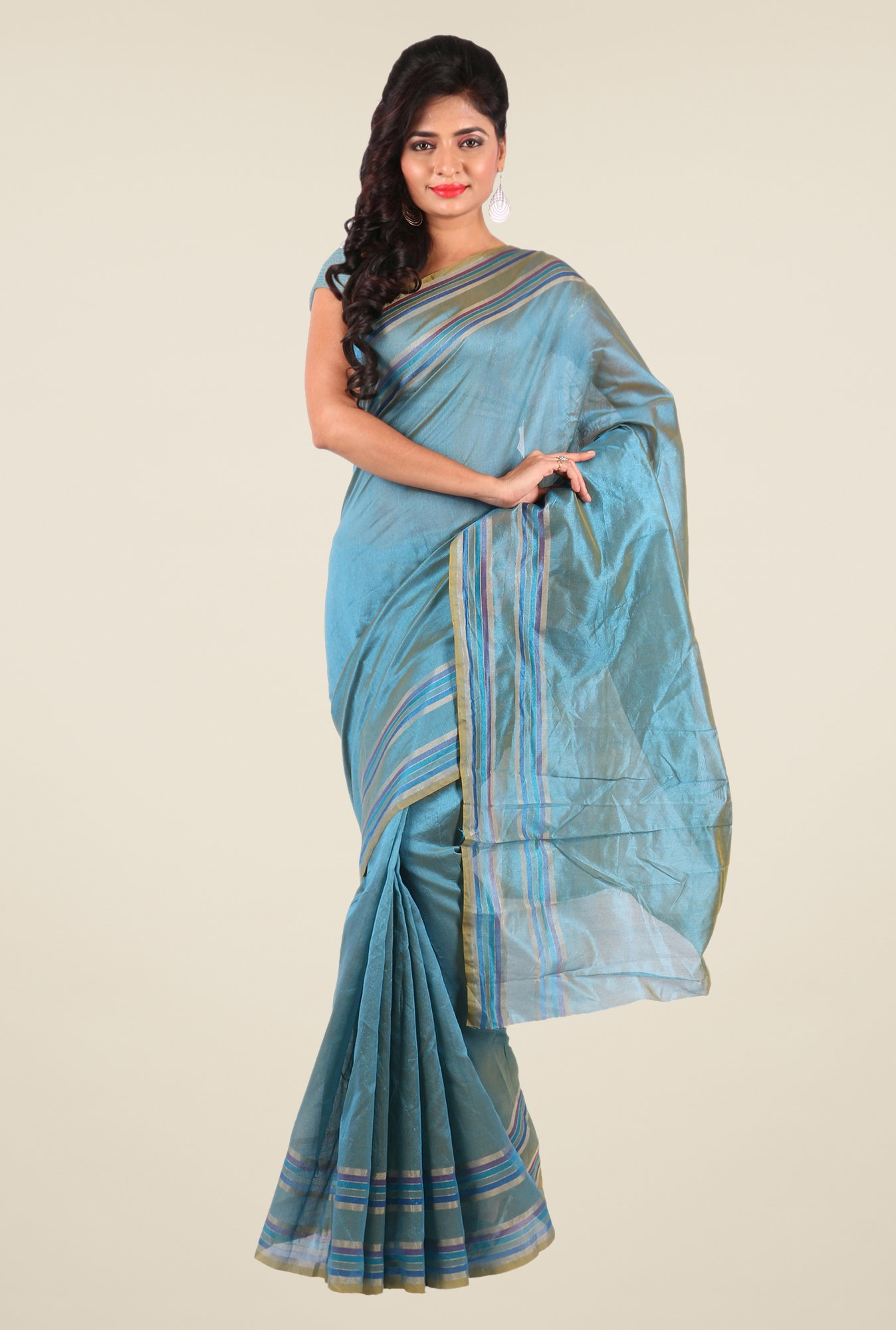 Shonaya Blue Art Silk Solid Saree