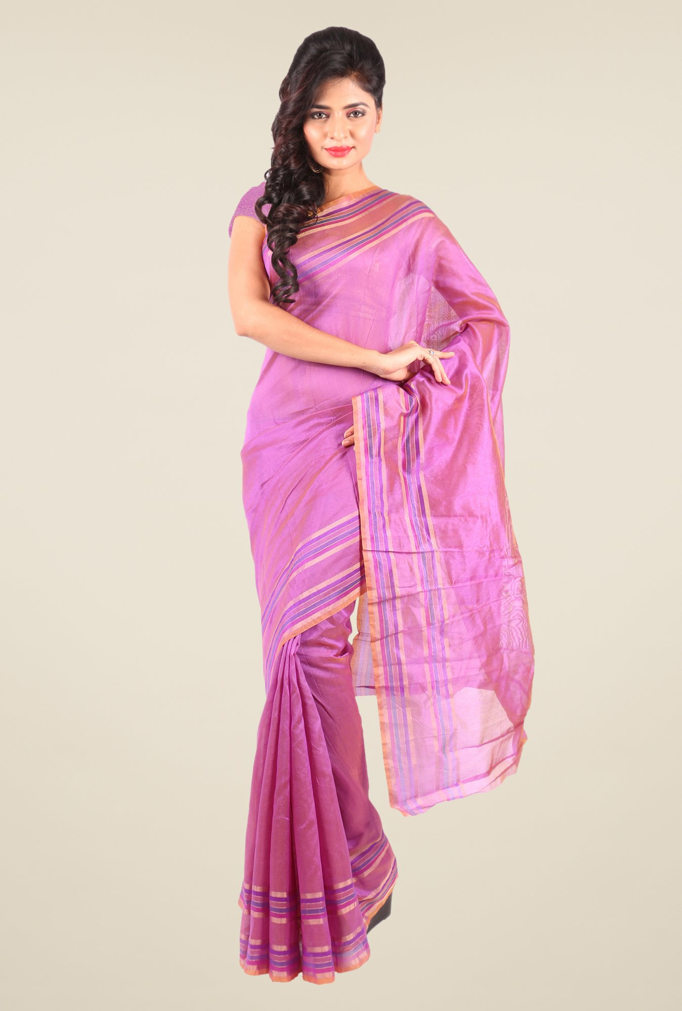 Shonaya Pink Art Silk Solid Saree