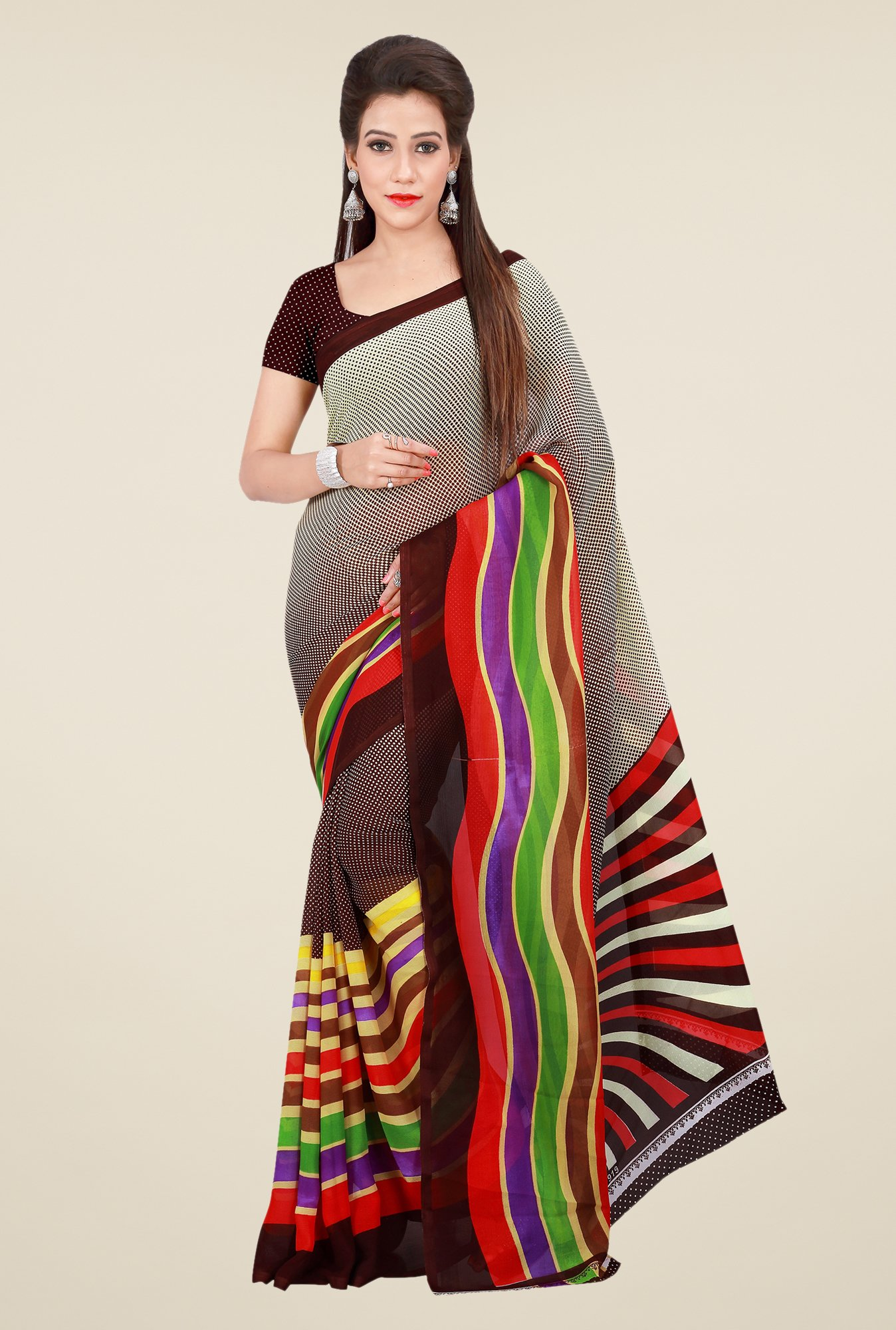 Shonaya Brown & Grey Georgette Printed Saree
