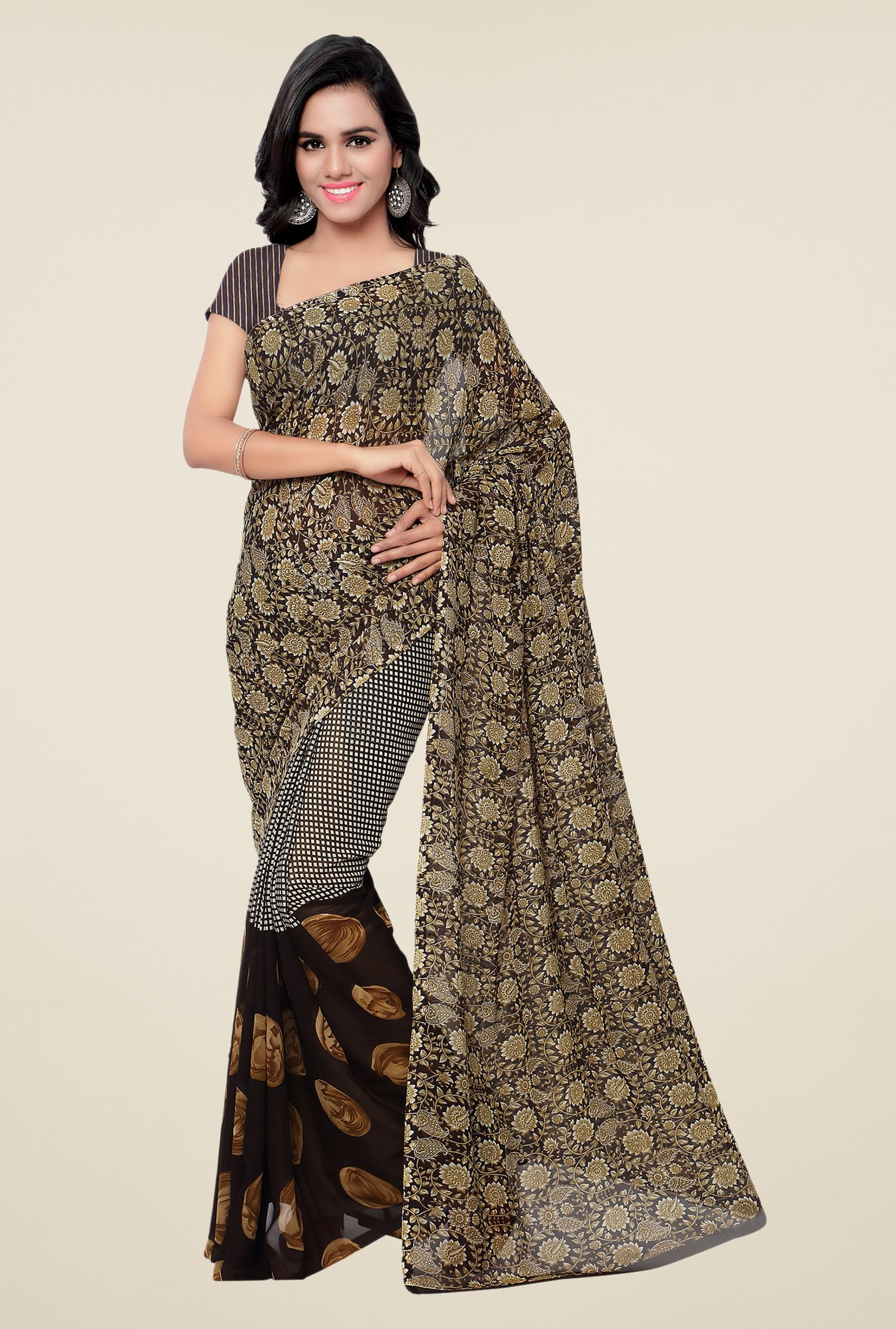 Shonaya Brown & Beige Georgette Printed Saree