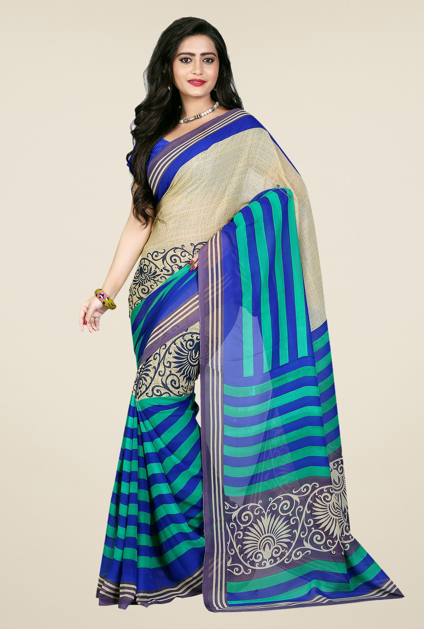 Shonaya Beige & Blue Georgette Printed Saree