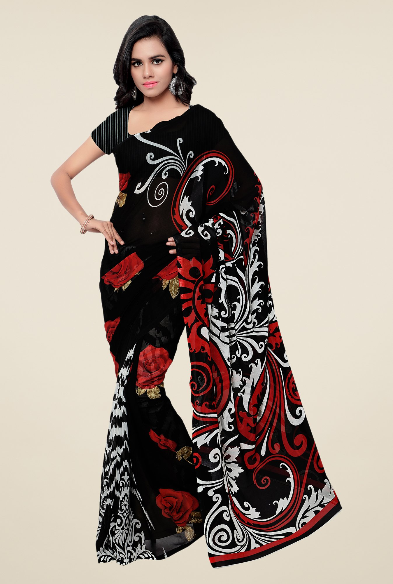 Shonaya Black Georgette Printed Saree