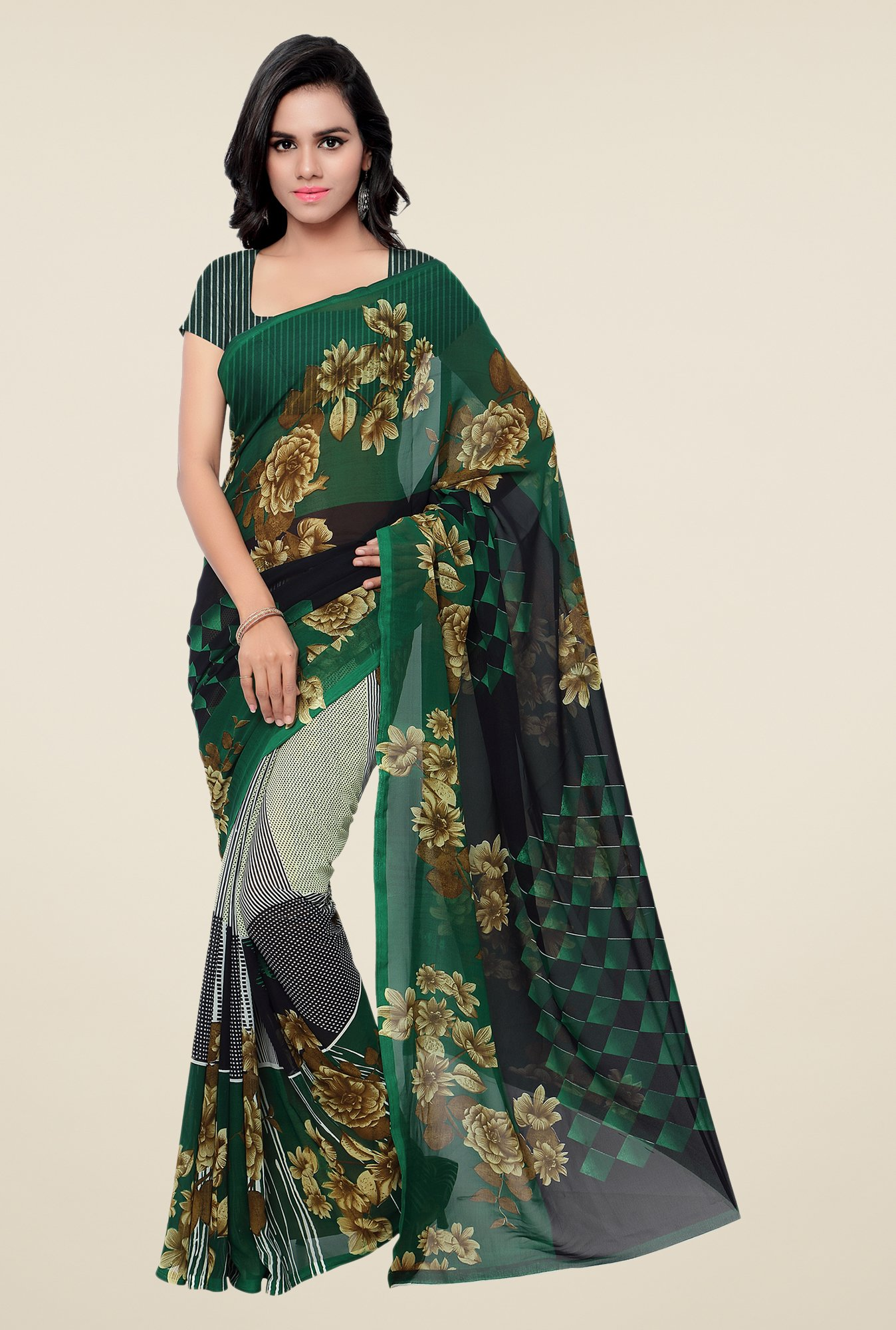 Shonaya Green & Black Georgette Floral Print Saree