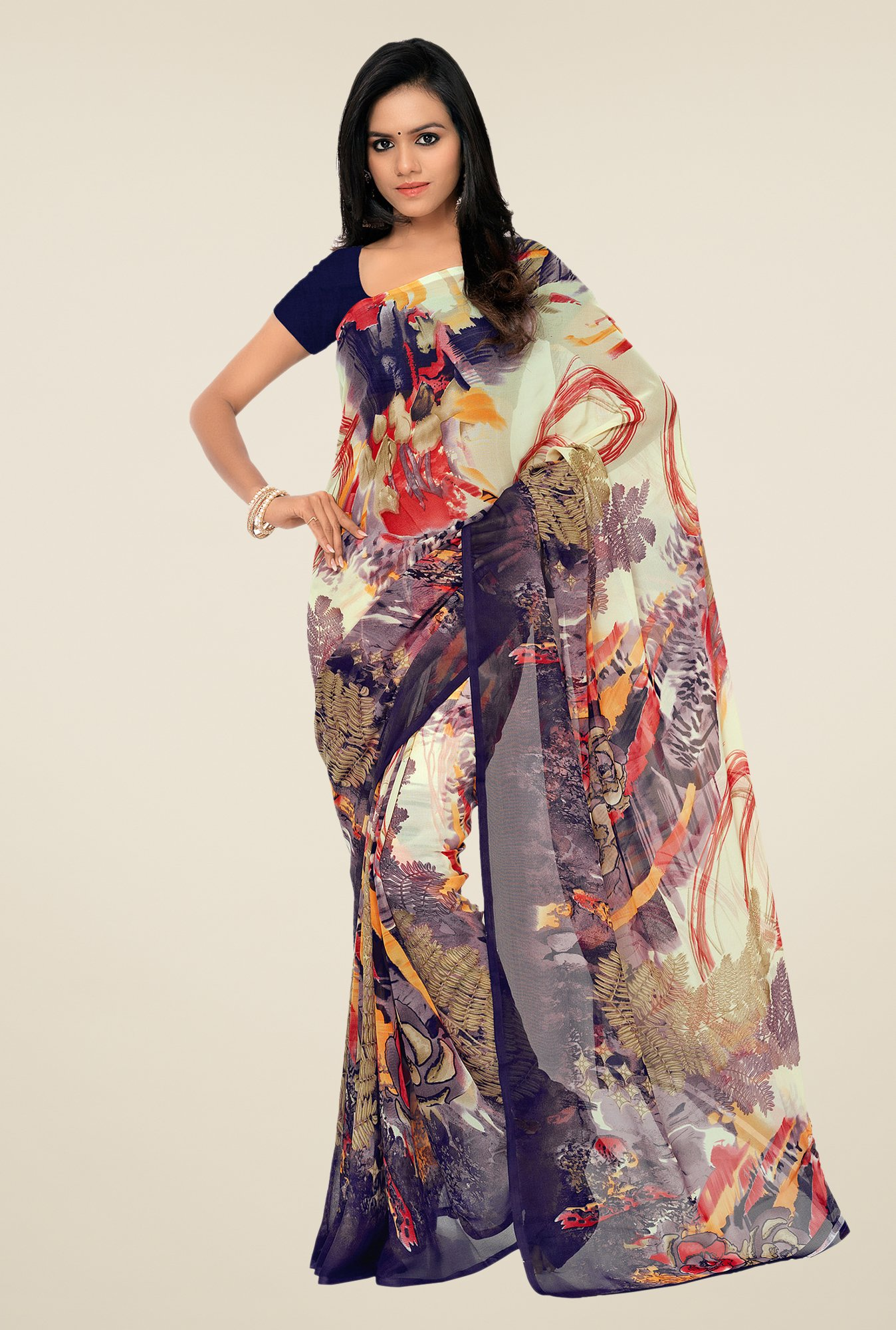 Shonaya Navy & Cream Georgette Printed Saree