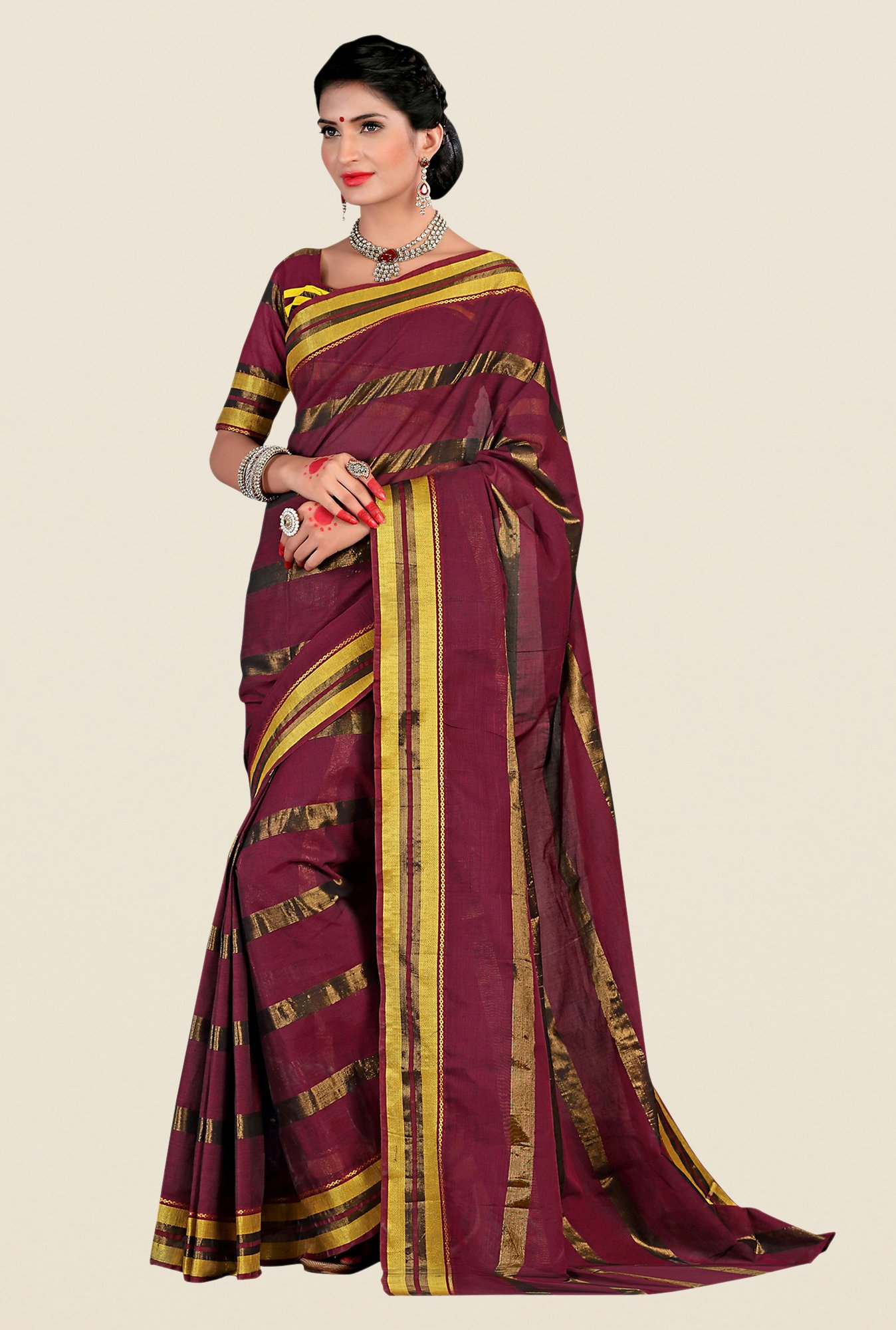 Shonaya Maroon & Golden Cotton Silk Striped Saree
